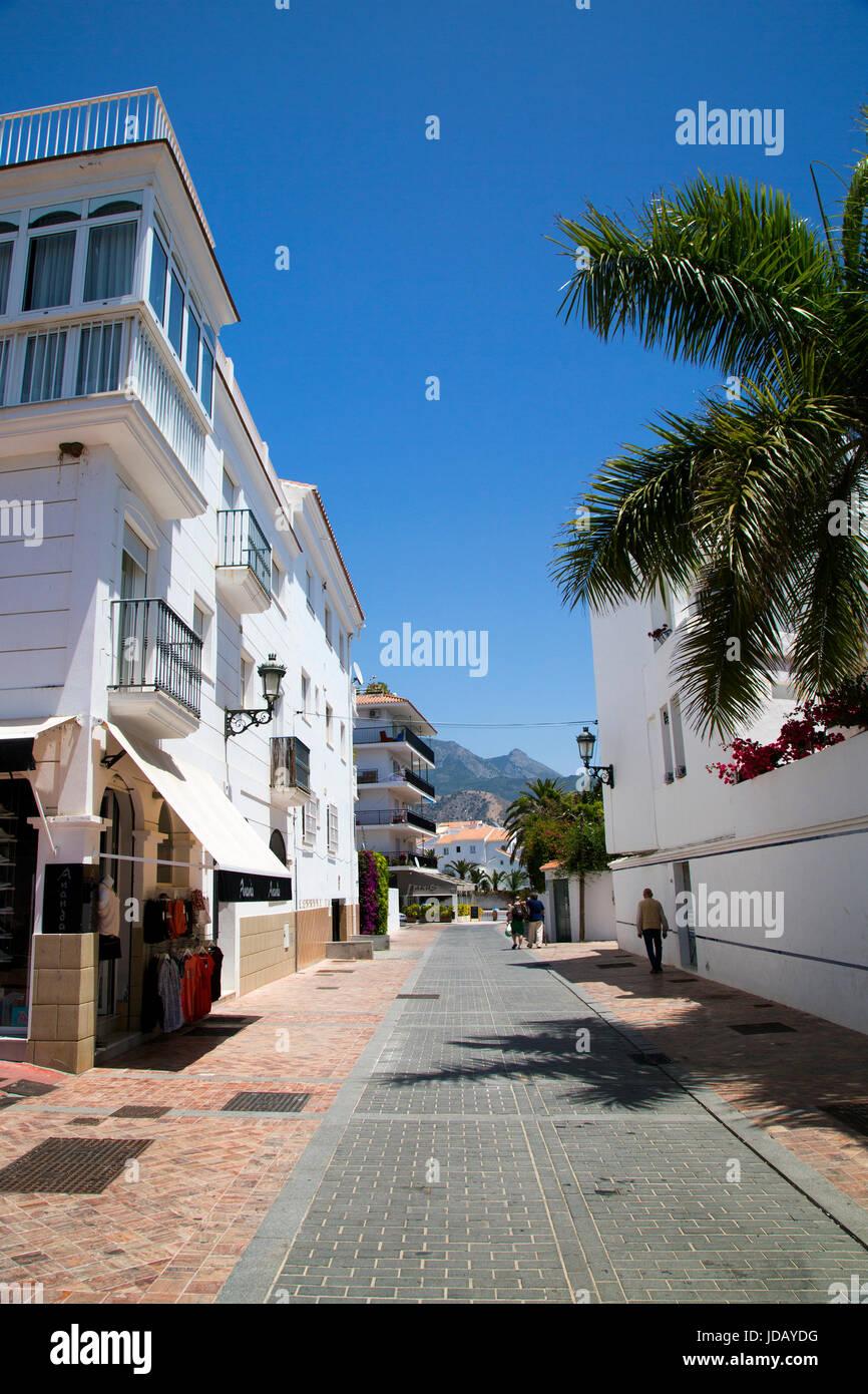 A street scene in Nerja, Andalusia, Spain, Costa del Sol. Stock Photo