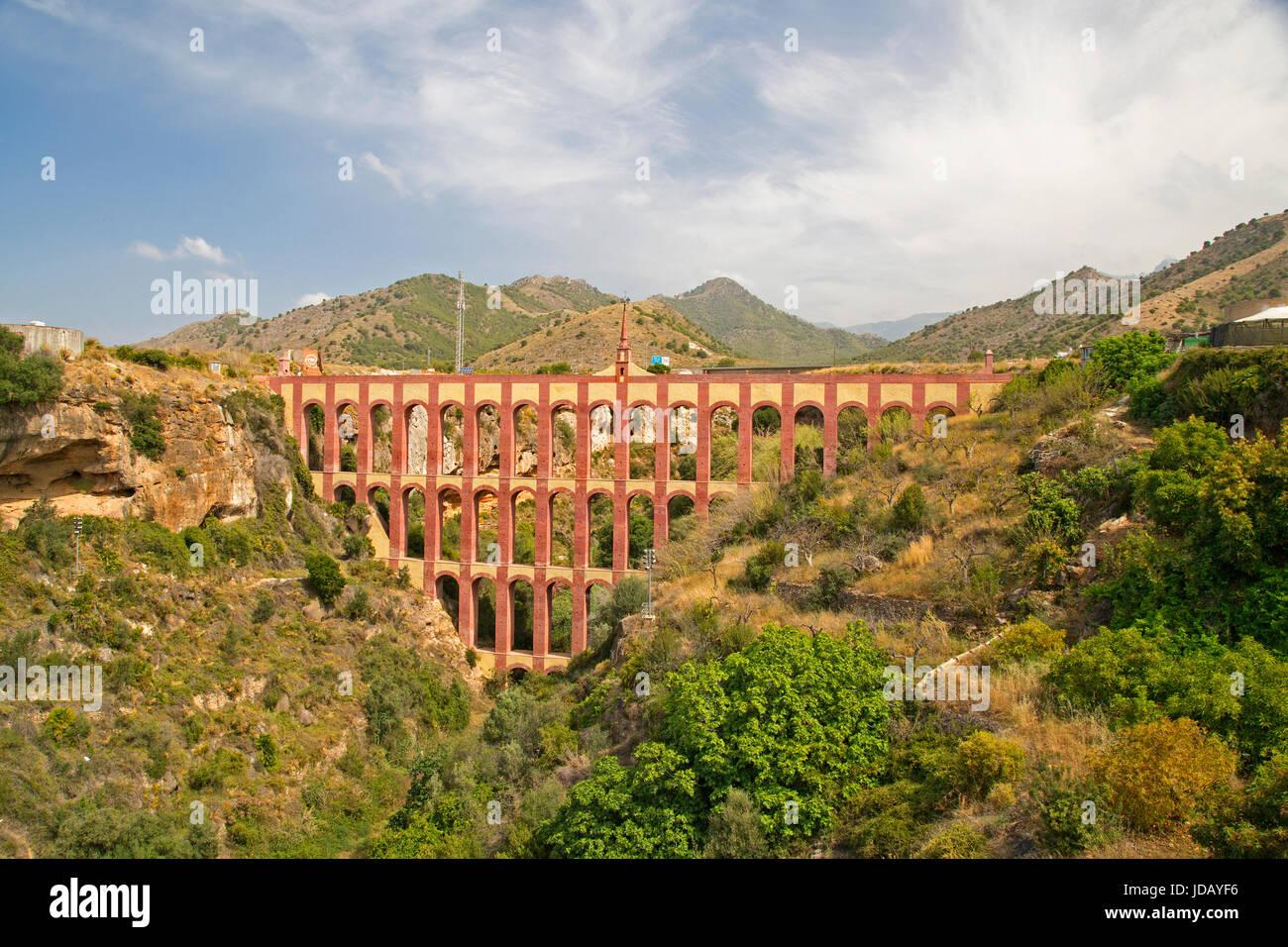 The Acueducto del Aguila (Eagle aqueduct) at Nerja, Spain. Spanish 19th century aqueduct. - Stock Image