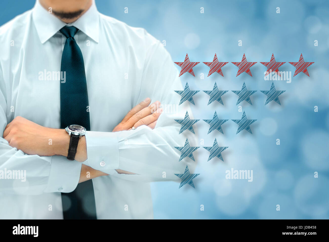 Quality, performance review, evaluation and classification ranking concept. Businessman silhouette in background. - Stock Image