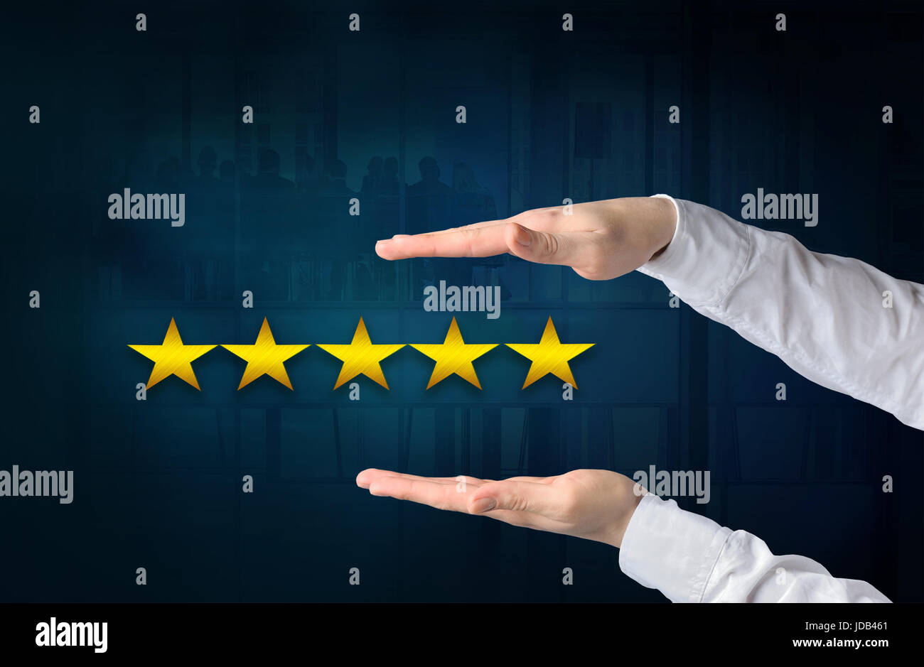 Quality, performance review, evaluation and classification ranking concept. Protecting gesture of businessman and - Stock Image