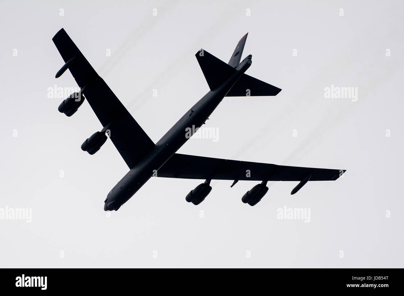 An American long-range strategic bomber Boeing B-52 Stratofortress during the 45th edition of Exercise BALTIC OPERATIONS  BALTOPS 2017 in Ustka, Polan Stock Photo