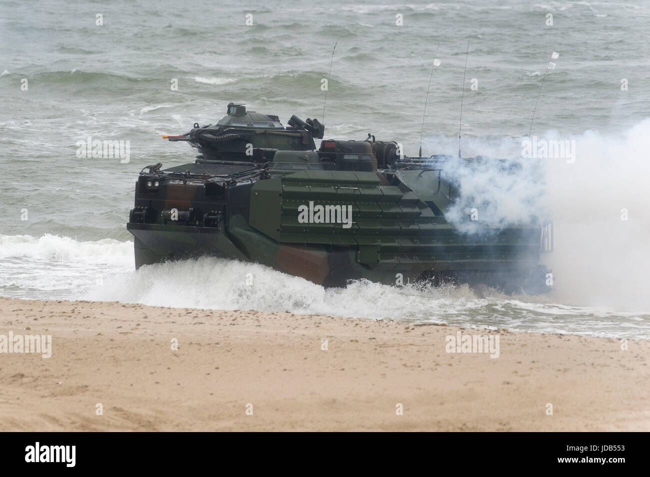 An American Assault Amphibious Vehicle AAV-7 is landing on the beach during the 45th edition of Exercise BALTIC Stock Photo