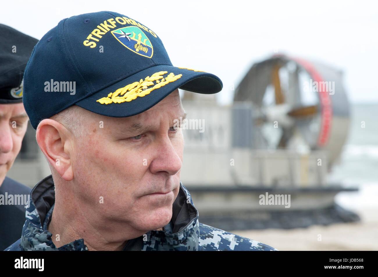 Vice Admiral Christopher Grady U.S. 6th Fleet Commander,  Naval Striking and Support Forces NATO STRIKFORNATO Commander, Stock Photo