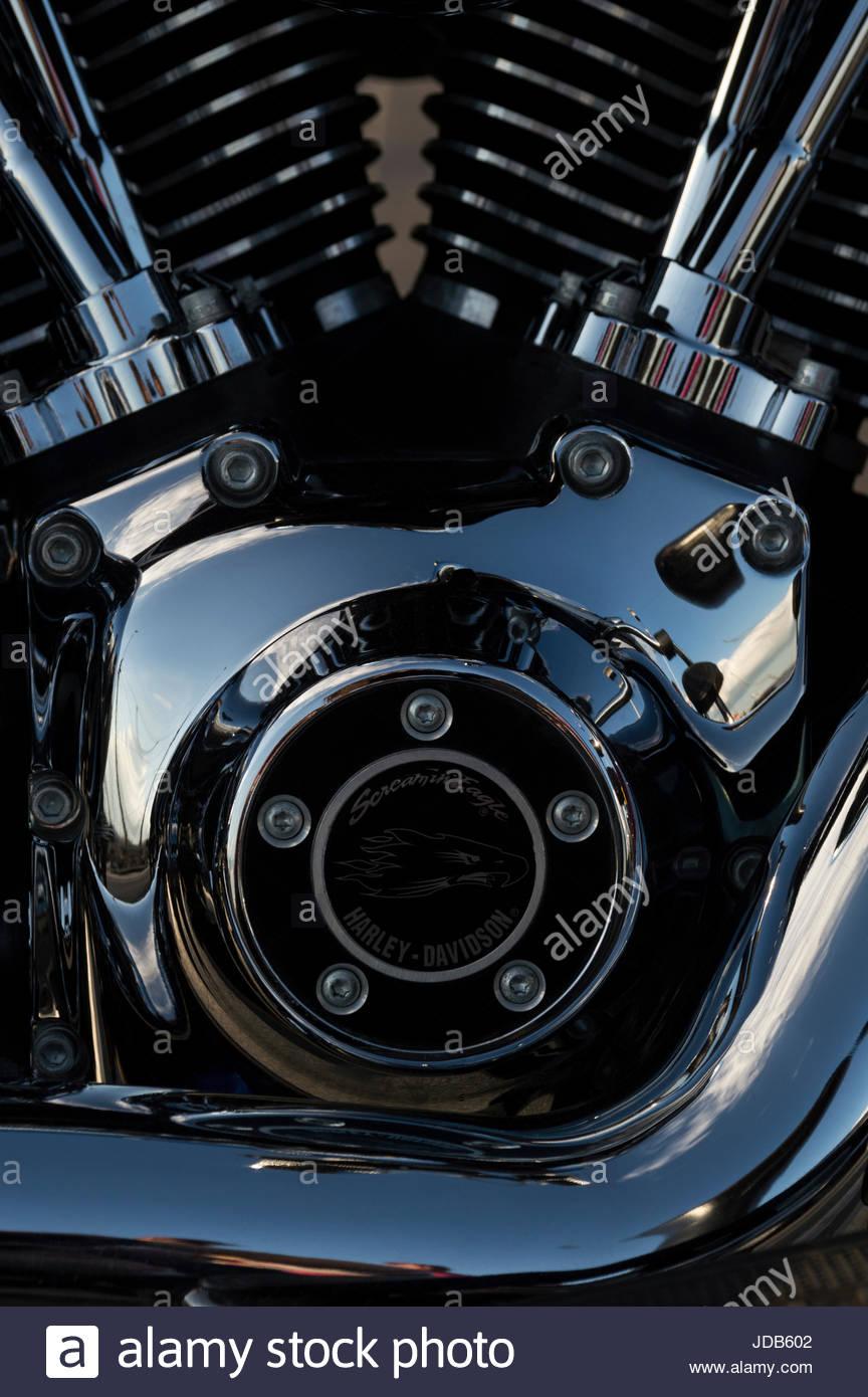Close-up of a Harley Davidson Crank Case and Engine, Poole, Dorset - Stock Image