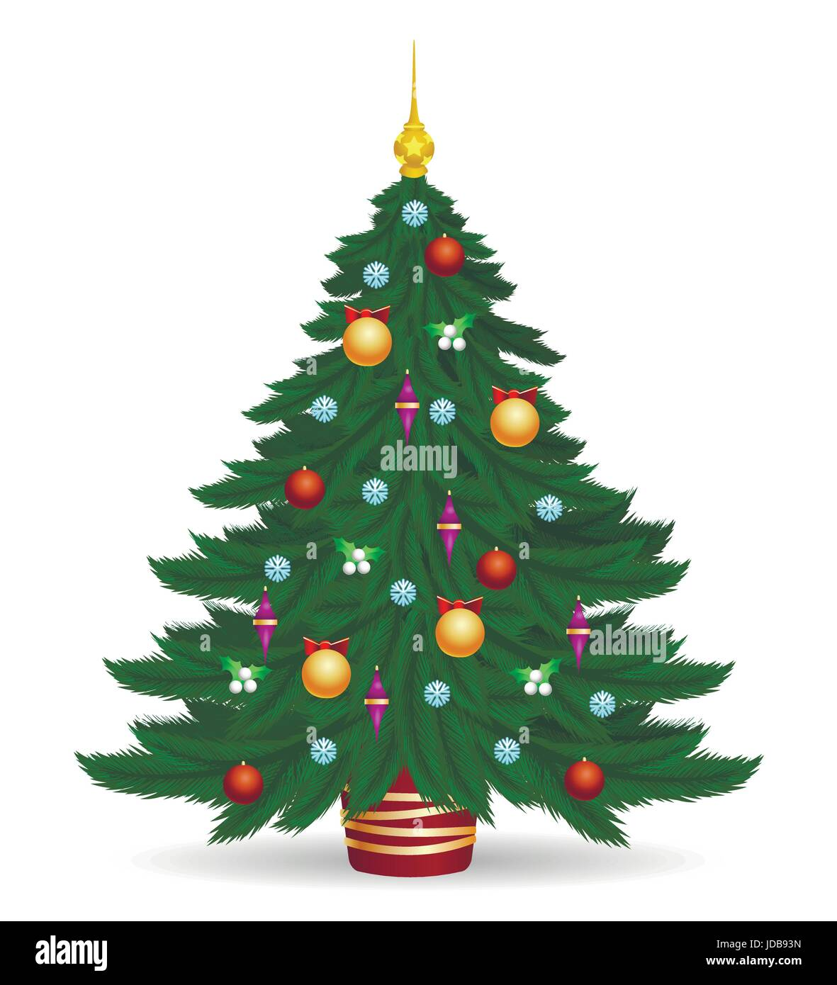 Christmas Tree Vector Illustration Decorated Colorful Traditional