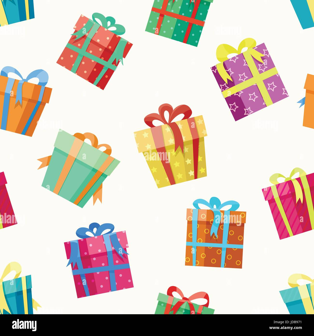 Gift Box Seamless Colorful Pattern With White Background
