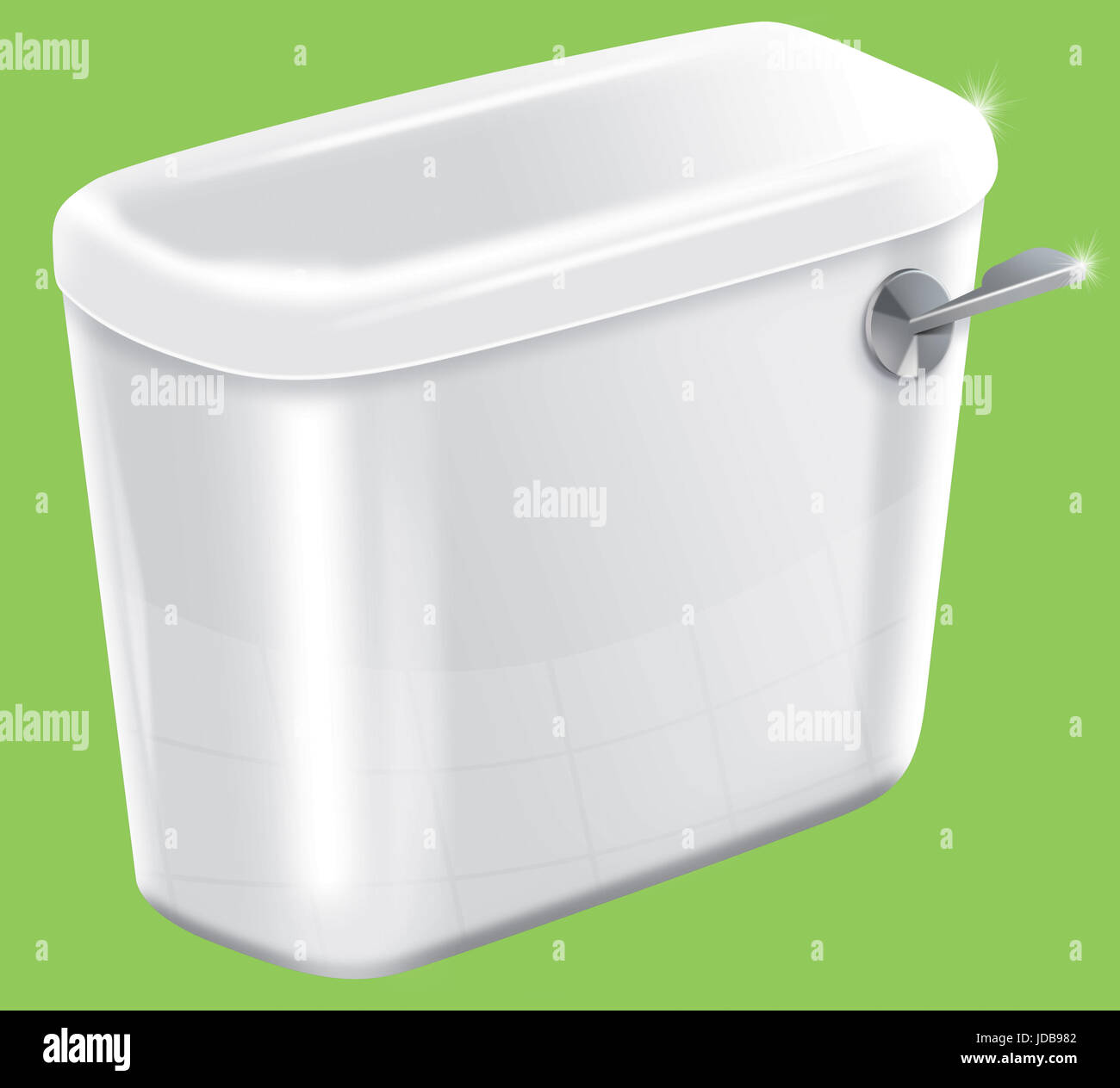 Picture of a isolated sparkiling toilet cistern Stock Photo