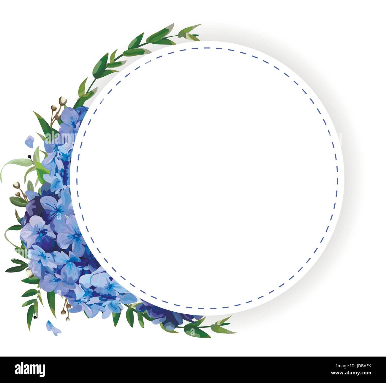 Flower circle, round, wreath coronet of blue hydrangea, hortensia flowers, green eucalyptus leaves beautiful lovely - Stock Vector