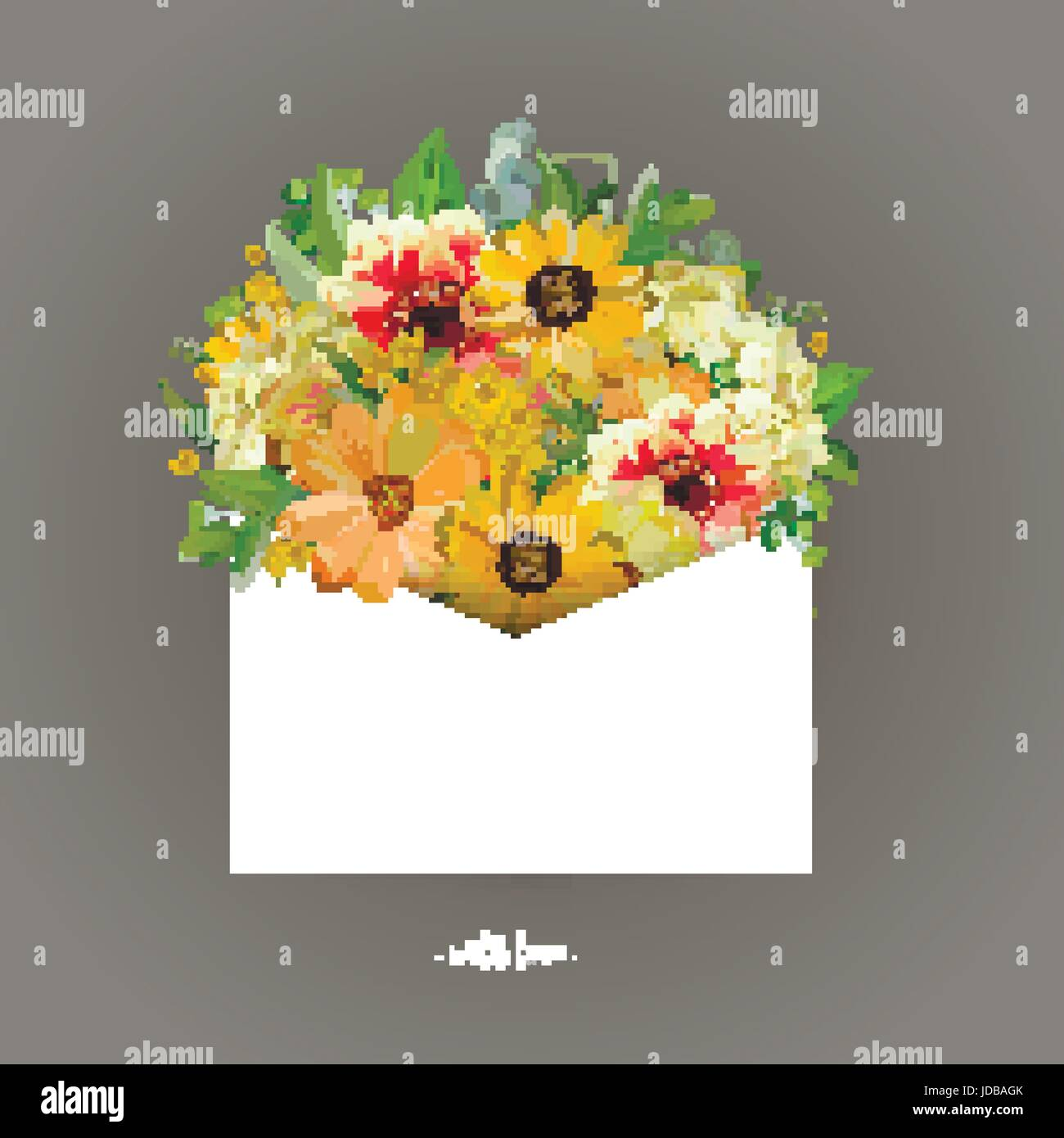 Greeting card with yellow sunflower, dahlia, cosmos flower eucalyptus packed white letter envelope. Vector sweet - Stock Vector