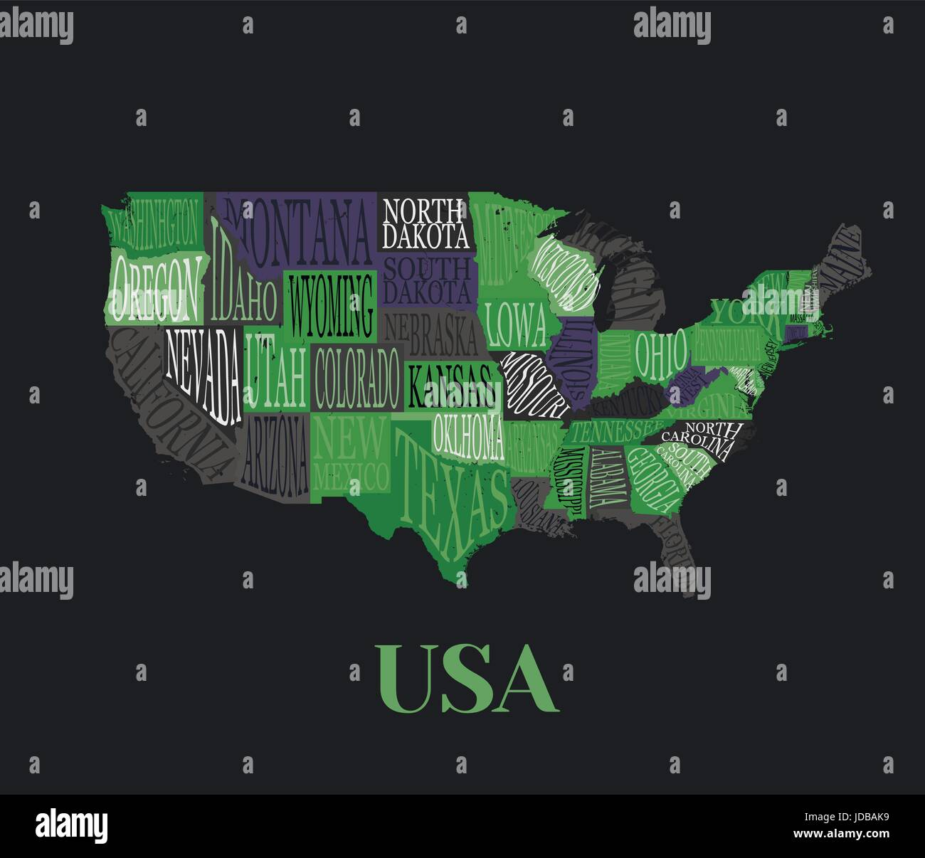 USA map with states- pictorial geographical decorative poster of ...