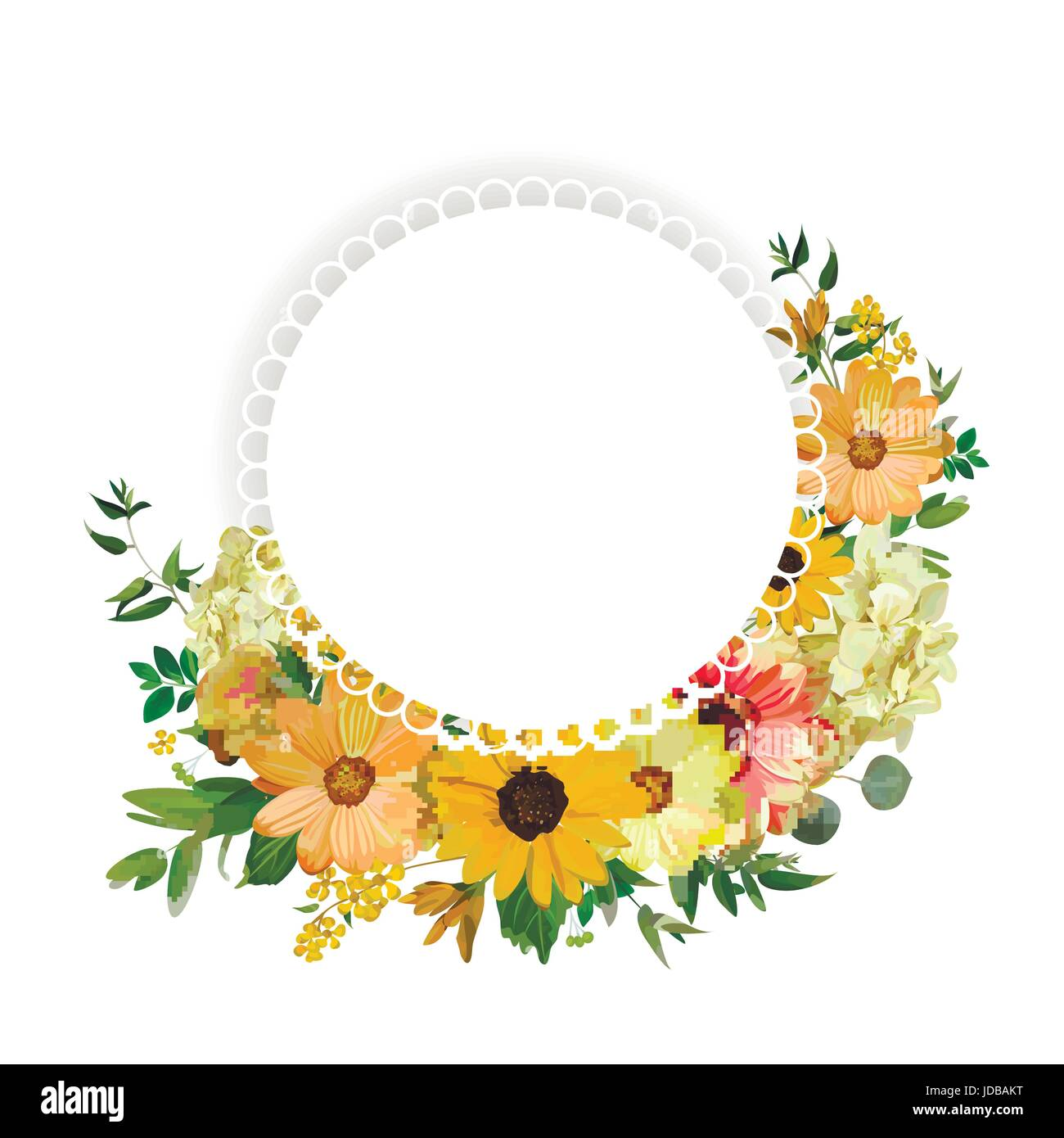 Attractive Flower circle round wreath flowers yellow orange Dahlia Sunflower  HY24