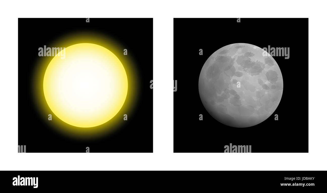 Sun and moon - symbolic mythological comparison of masculine and feminine energy in astrology, like yin and yang, - Stock Image