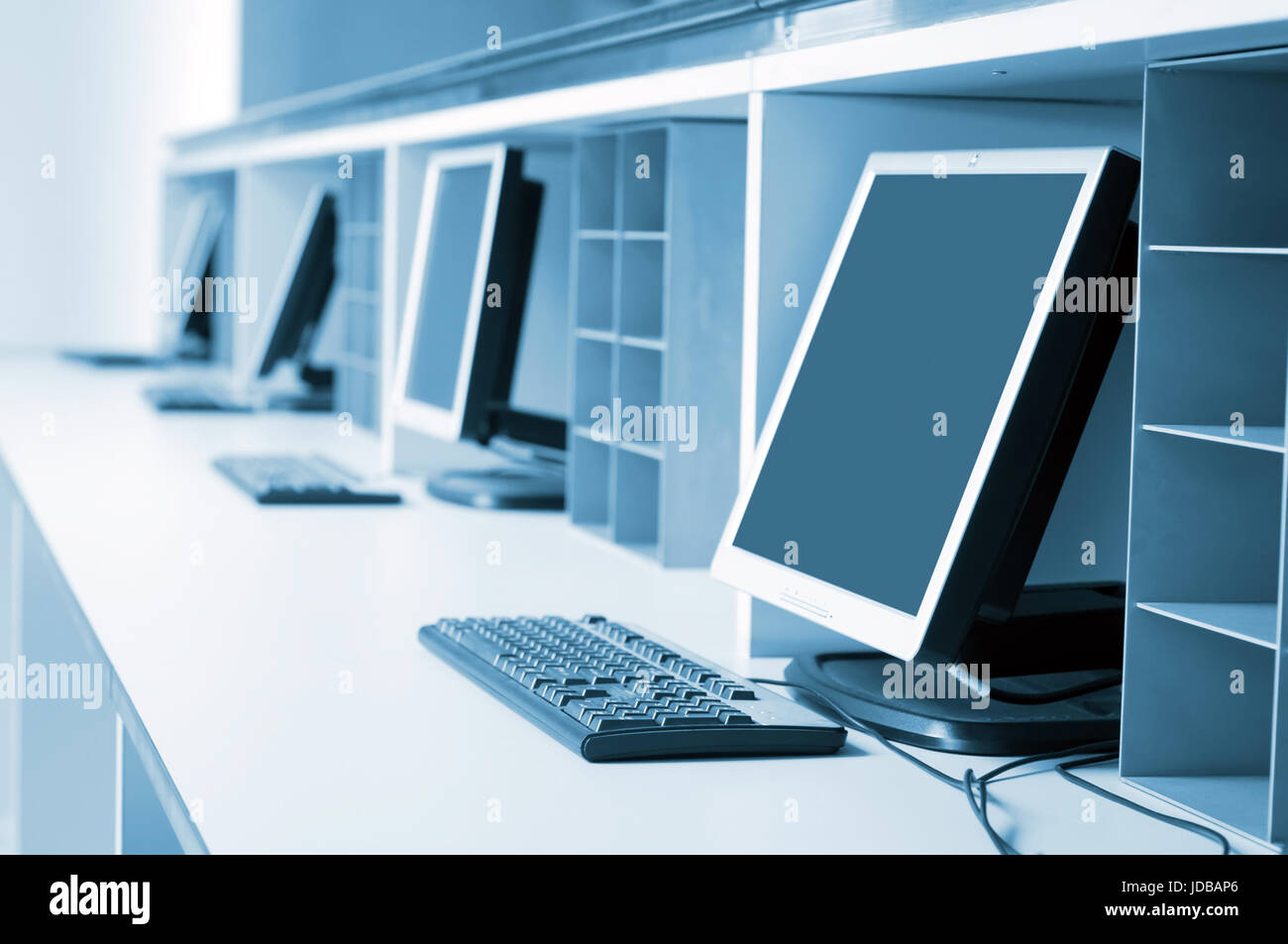 Background Blacktft Blue Break Business Canary Class Classroom C Technology Computers Parts Modern Computer Room Stock Image