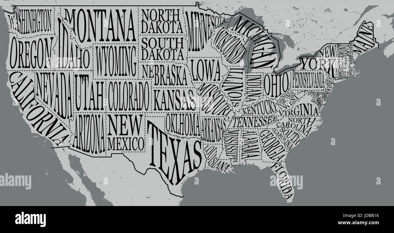 Hand drawn illustration of USA map with hand lettering names of states and tourist attractions. Travel to USA concept. - Stock Image