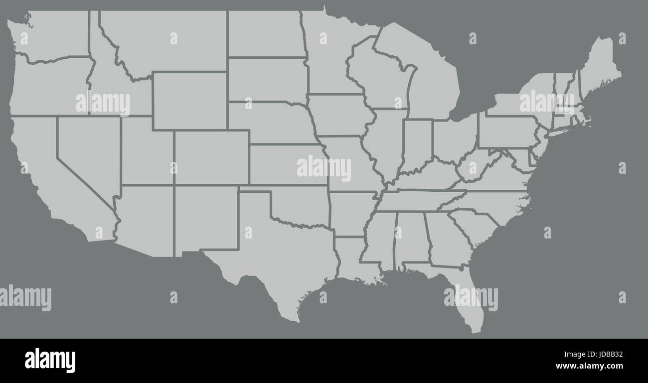 Blank similar high detailed USA map isolated on gray background ...