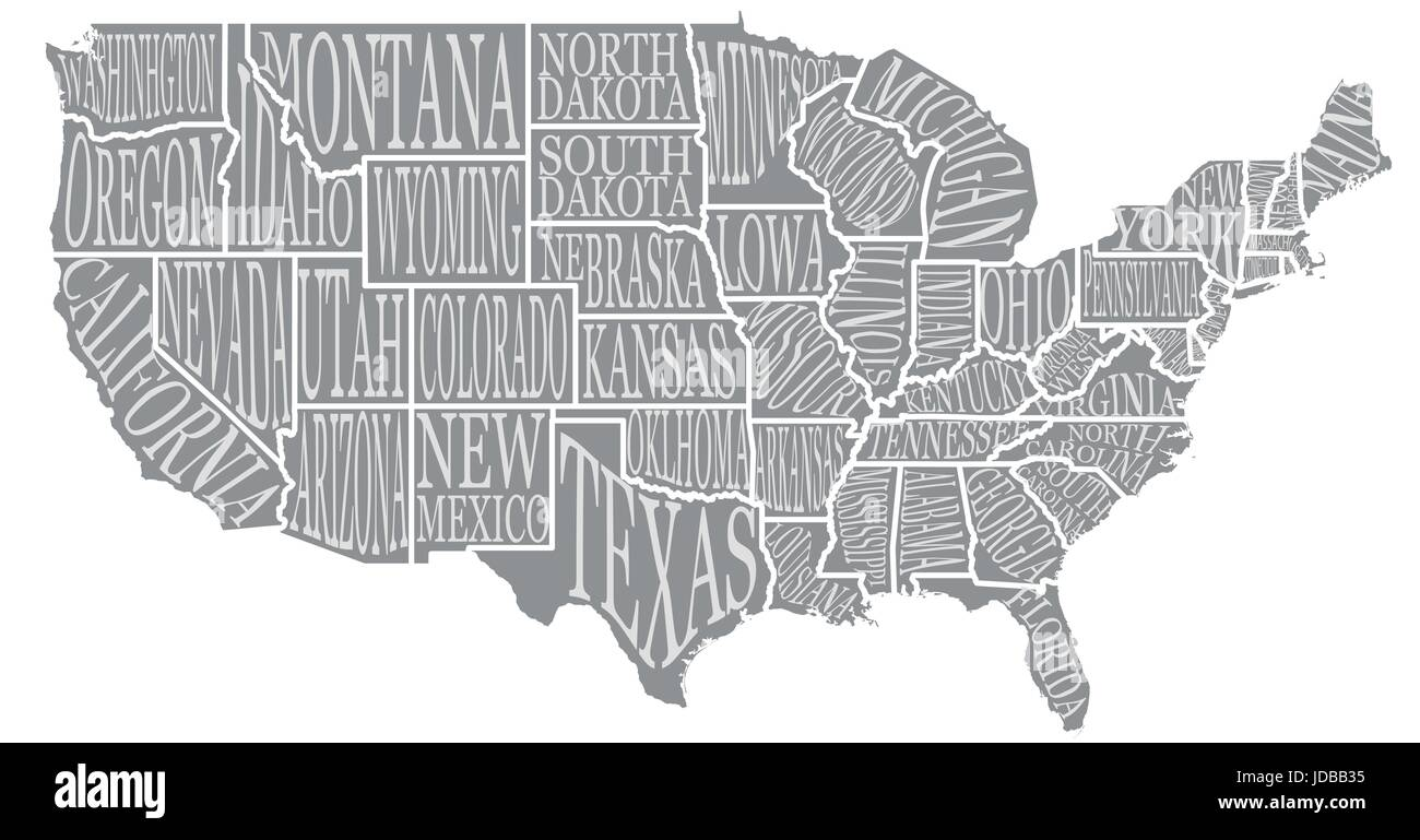 Blank And White Usa Map.Blank Similar High Detailed Decorative Usa Map On White Background