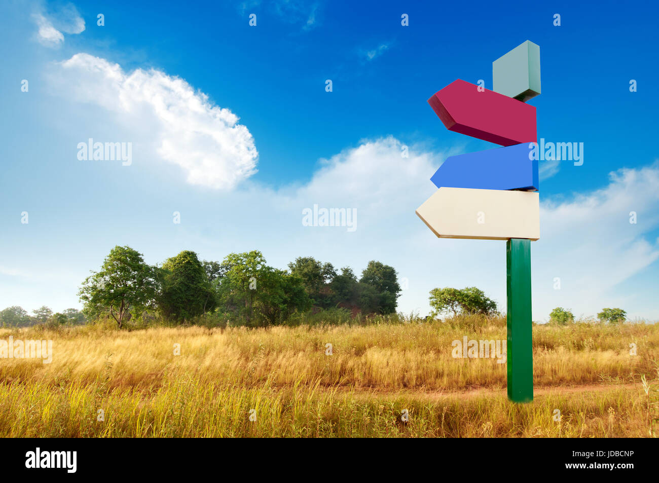 Empty wilderness, blank signs in the blue sky. - Stock Image