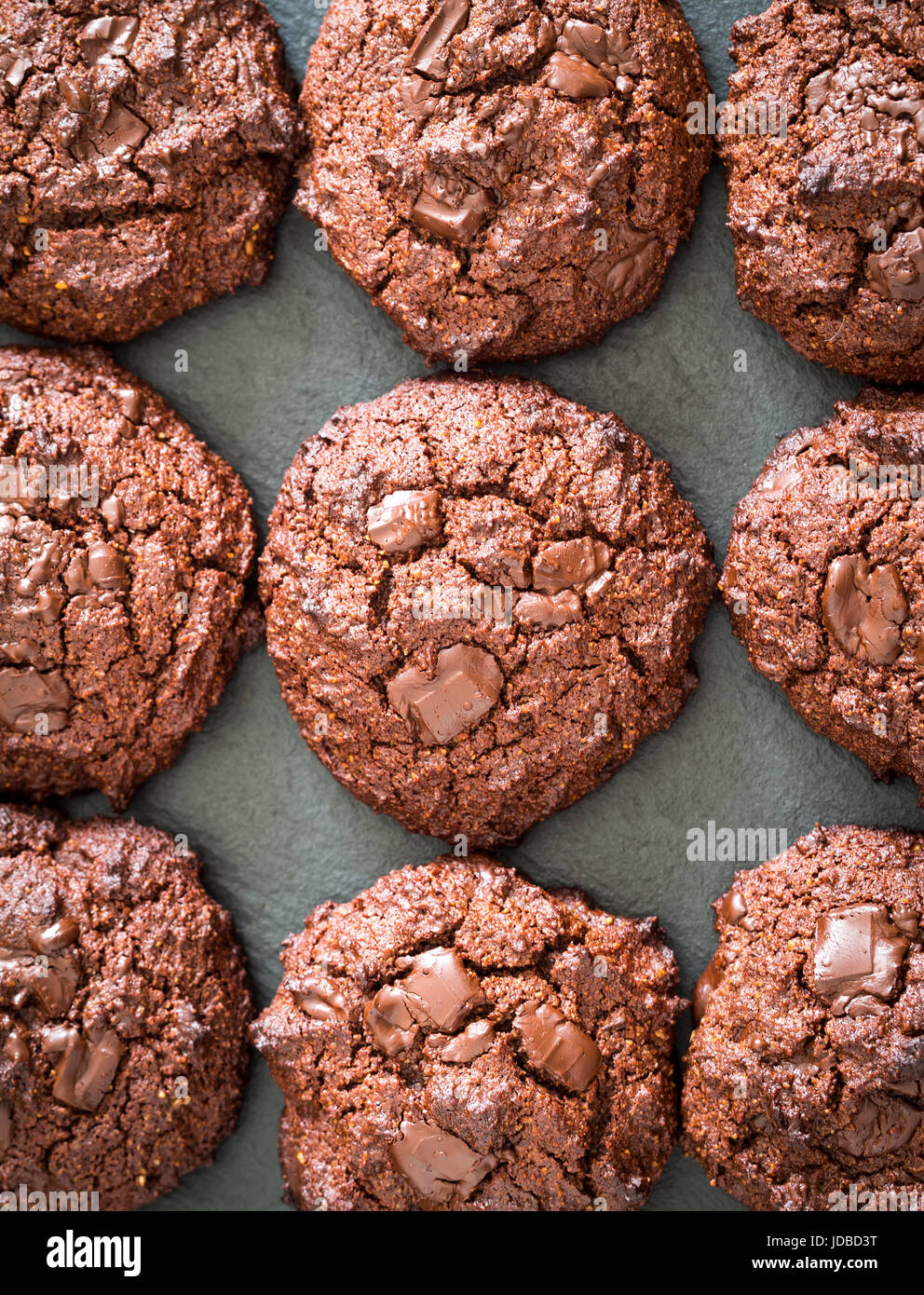 Grain free (gluten free) double chocolate cookies, view from the above. - Stock Image