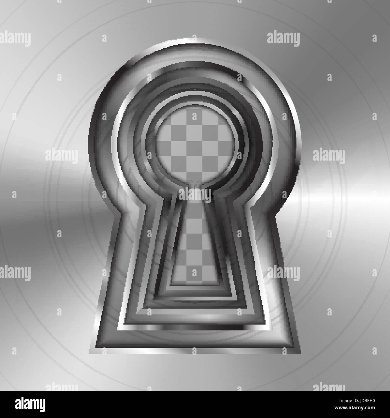 Keyholes in bright glossy metal plate on transparent background - Stock Image