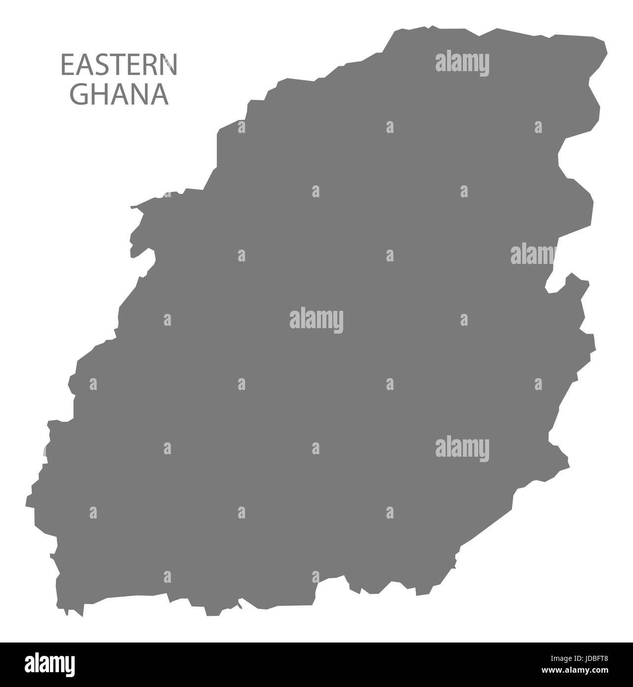 Eastern Ghana map grey illustration silhouette - Stock Image