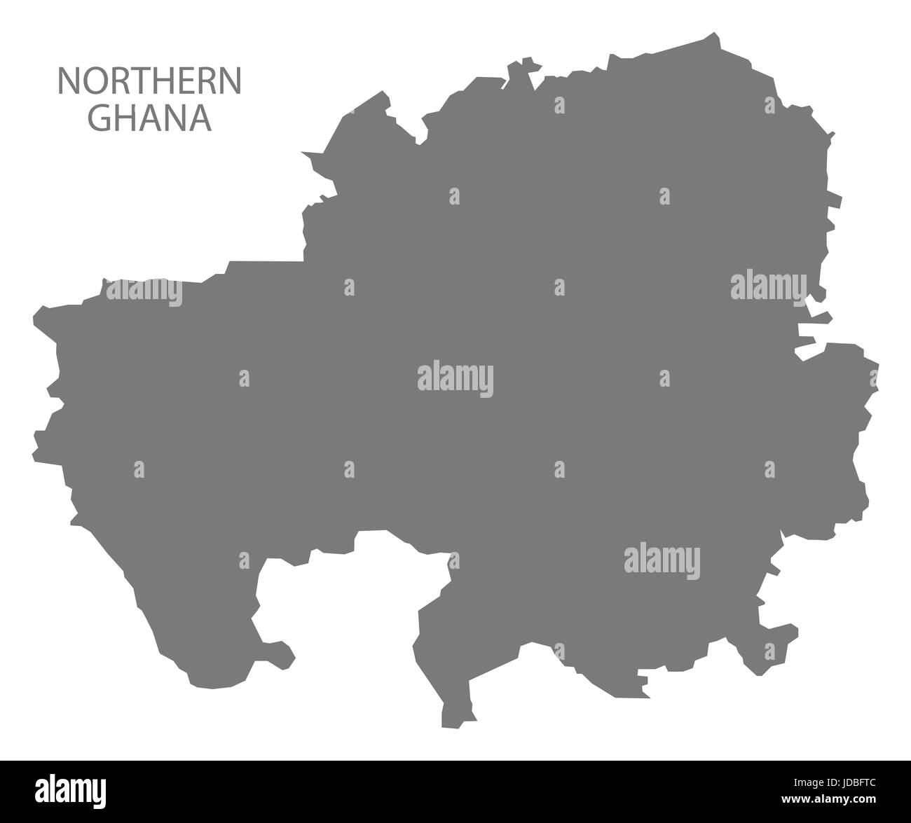 Northern Ghana map grey illustration silhouette - Stock Image