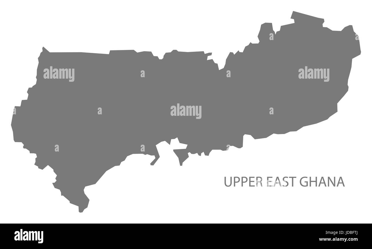 Upper East Ghana map grey illustration silhouette - Stock Image