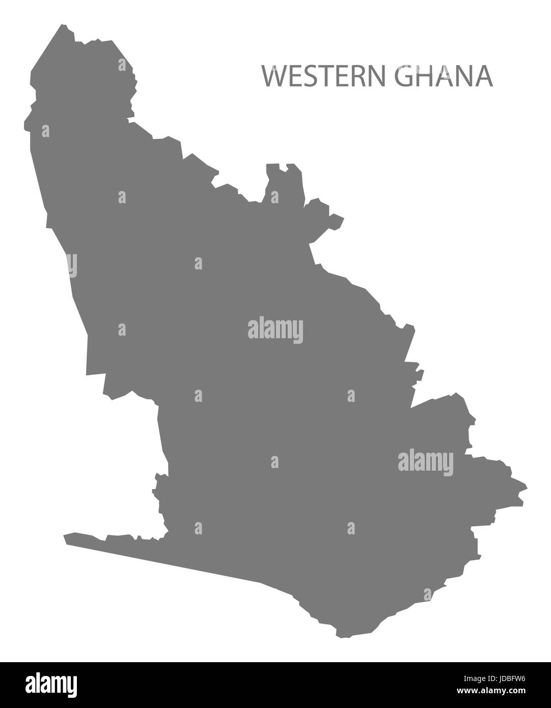 Western Ghana map grey illustration silhouette - Stock Image