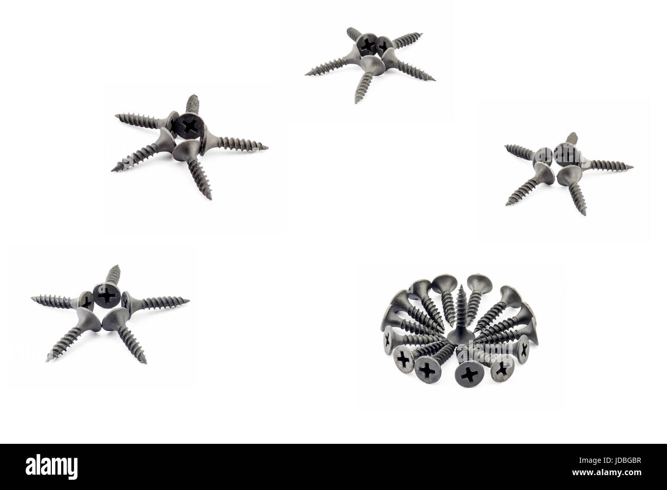 Four five-pointed stars and a circular composition are lined with black Oxidized self-tapping screw isolated on - Stock Image