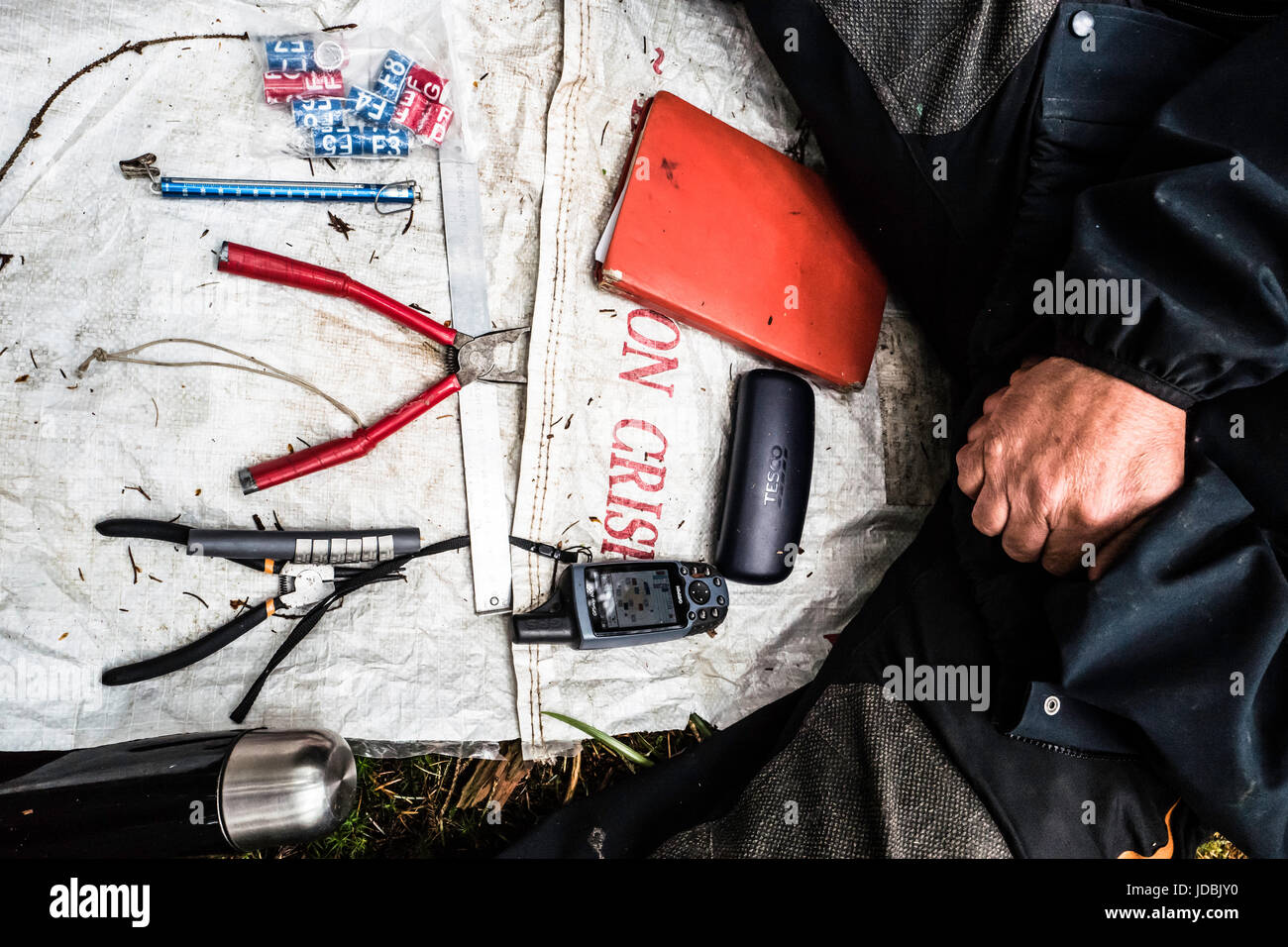 Hawick, Scottish Borders, UK. 16th June 2017. Tools of the trade, a ranger sets out his kit ready to ring Goshawk - Stock Image