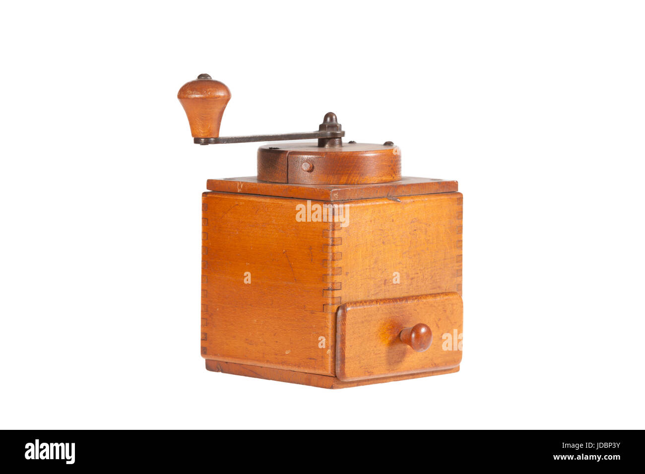 vintage coffee mill isolated on white backgroung - Stock Image