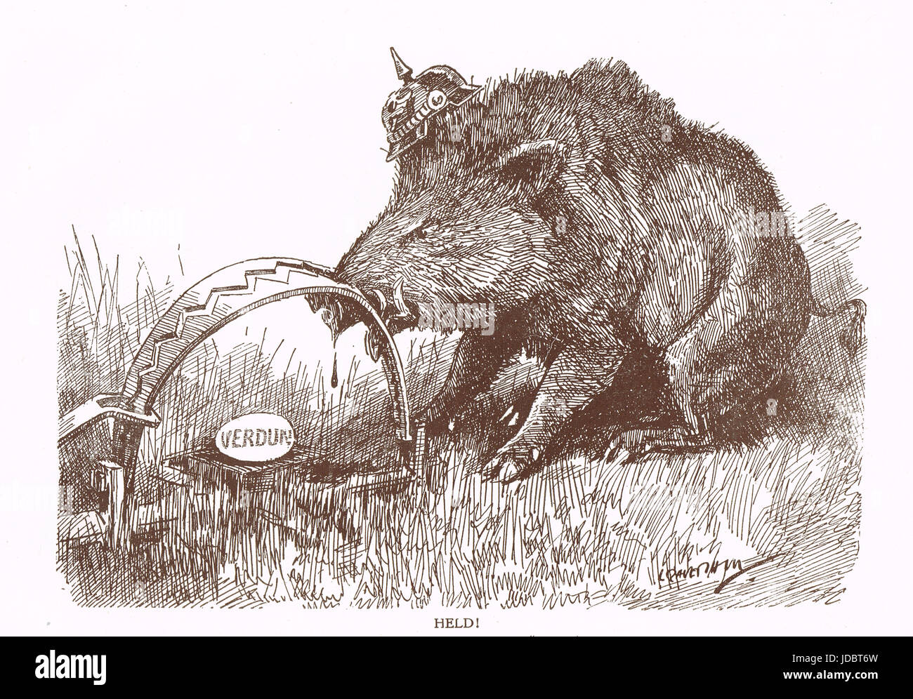 Punch cartoon by Leonard Raven-Hill German Hog with nose in trap, Battle of Verdun, 1916 Stock Photo