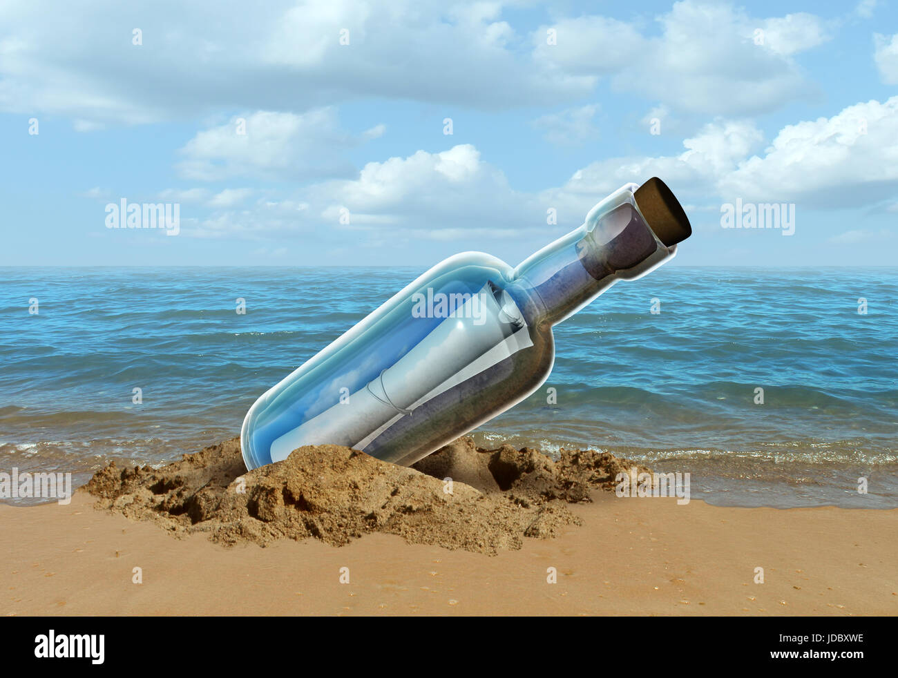 Message in a bottle concept as a note on a sealed glass container as a communication metaphor for sending a letter - Stock Image
