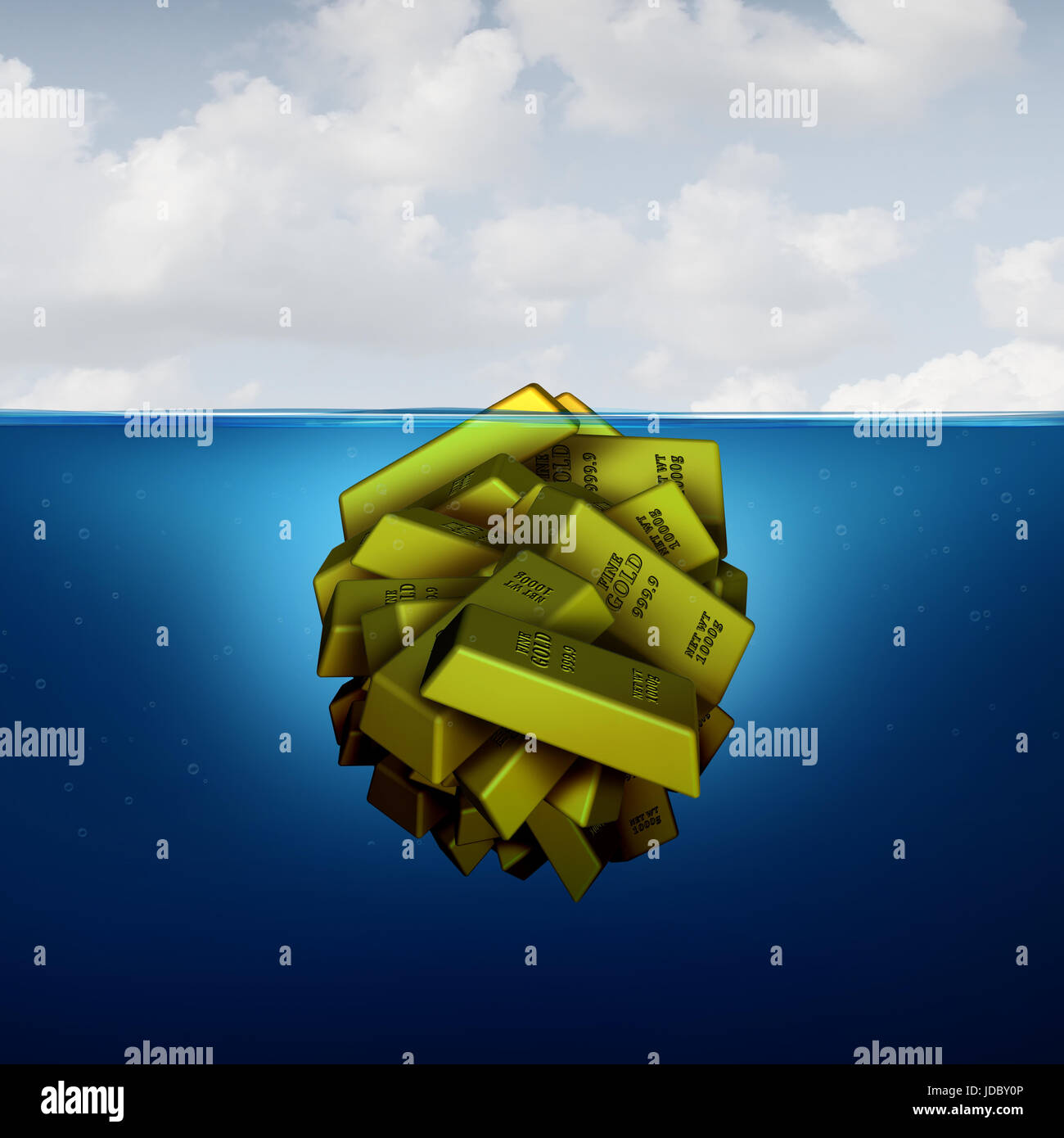 Iceberg business concept as a hidden fortune opportunity economic vision concept as an investing metaphor as a group - Stock Image