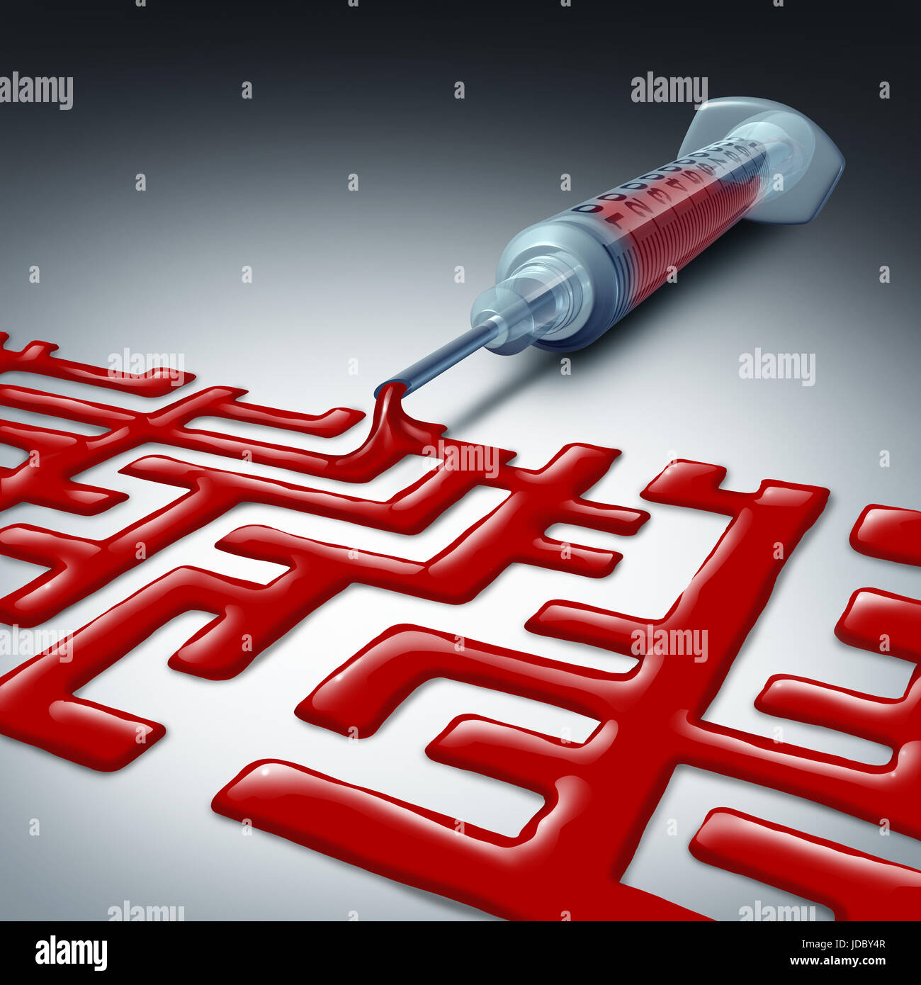 Navigating the health care maze or healthcare challenge as a syringe with red blood liquid shaped as a labyrinth - Stock Image