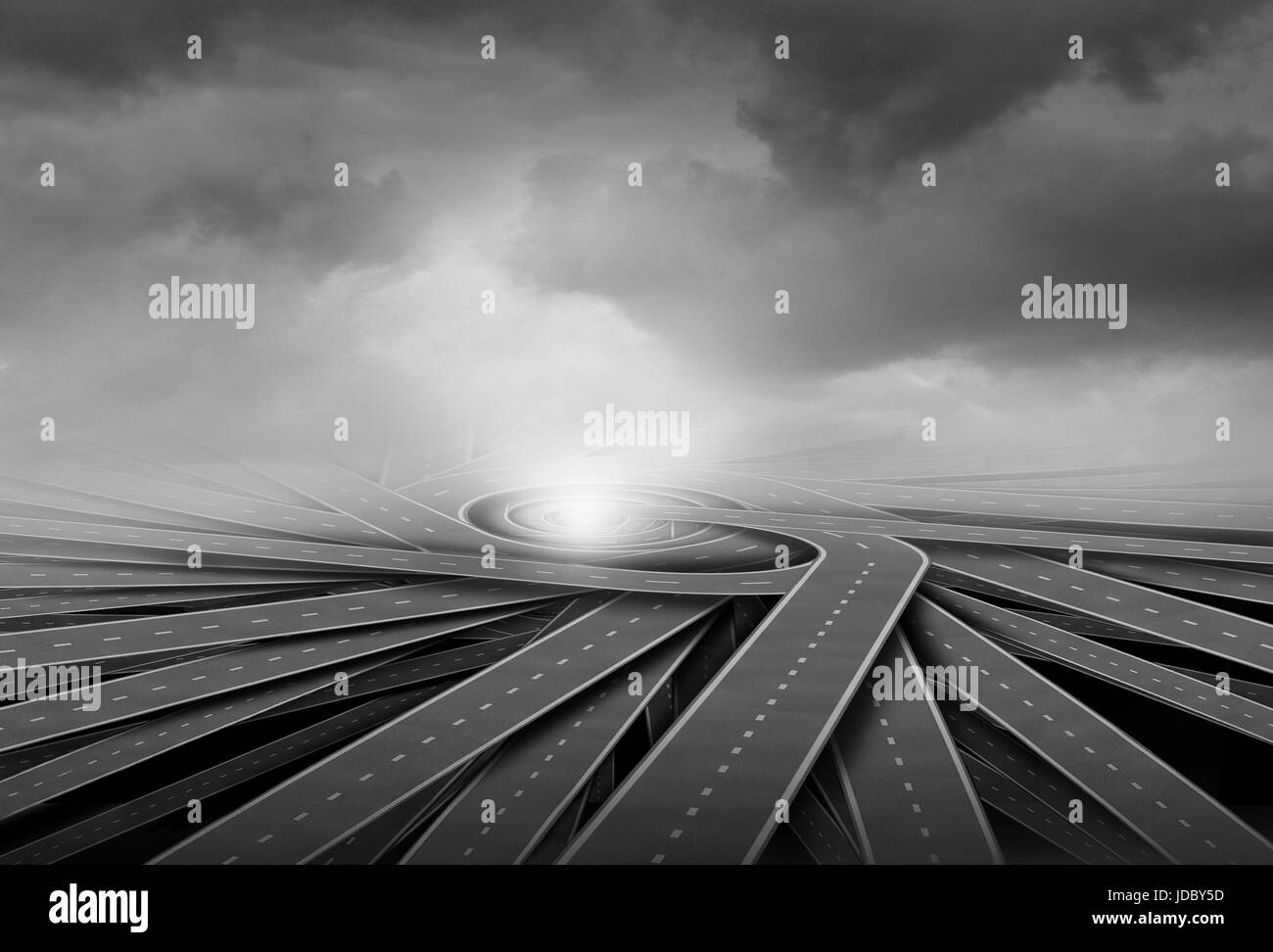 Centralization concept and center of business focus metaphor as a group of twisted paths connecting together as - Stock Image