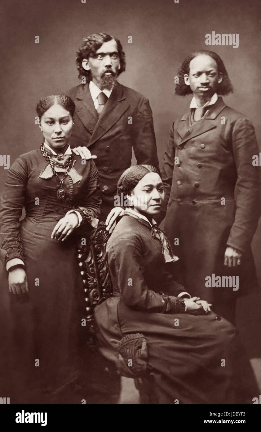 Ex-slave Thomas Lewis Johnson (r) (1836-1921) and Calvin H. Richardson (l), along with their wives, were Christian - Stock Image