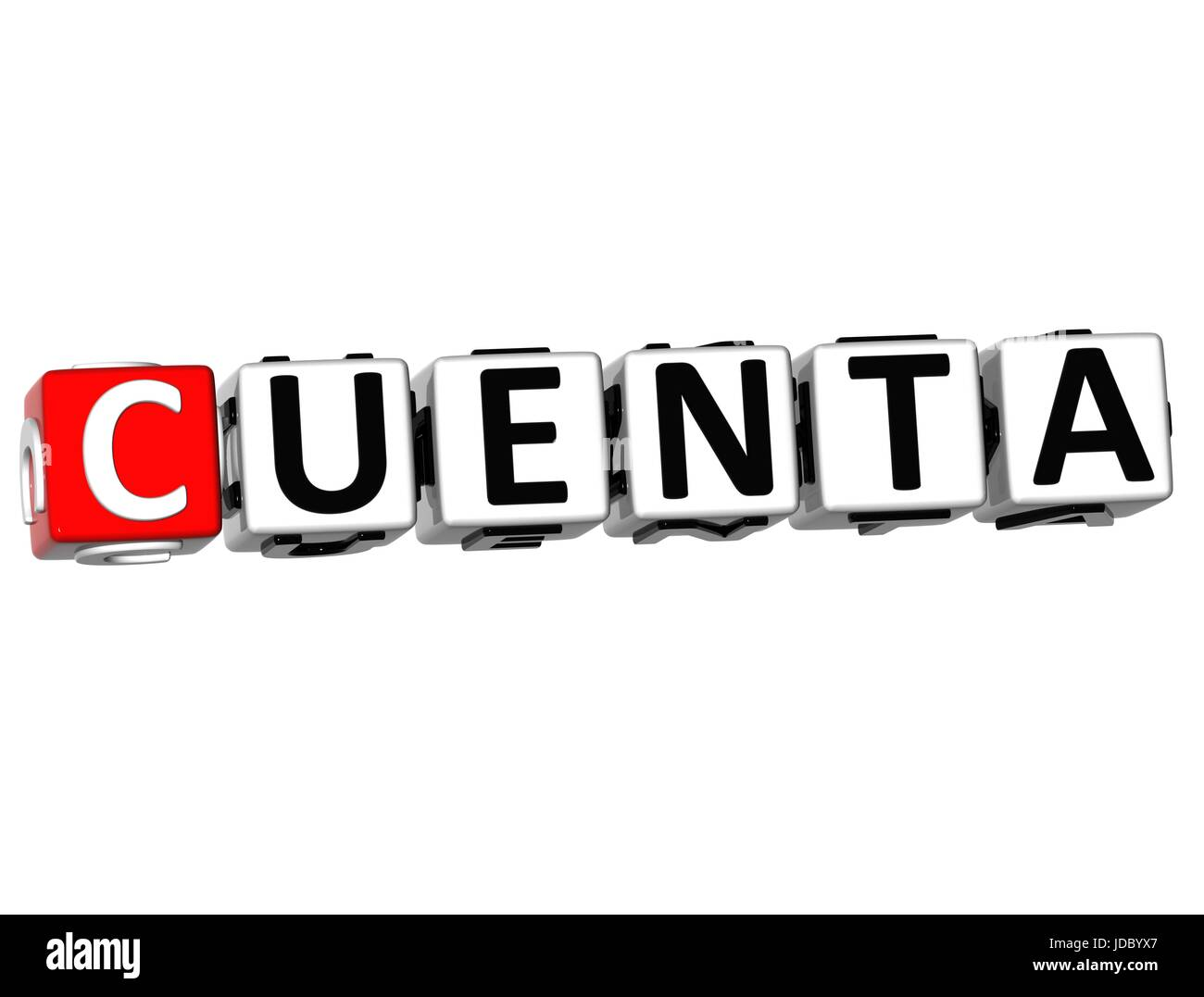 3D Cuenta Block Text on white background - Stock Image