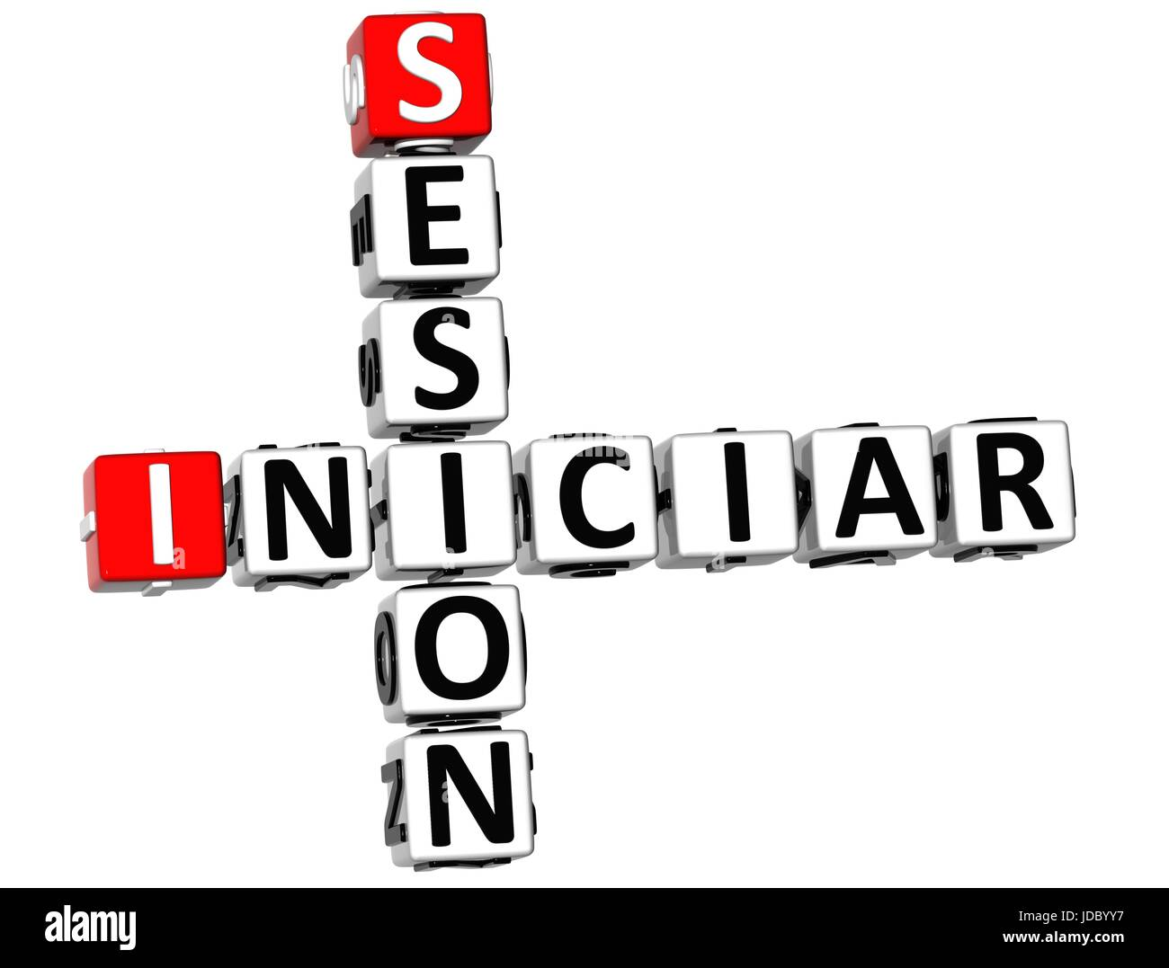 3D Iniciar Sesion Crossword on white background - Stock Image