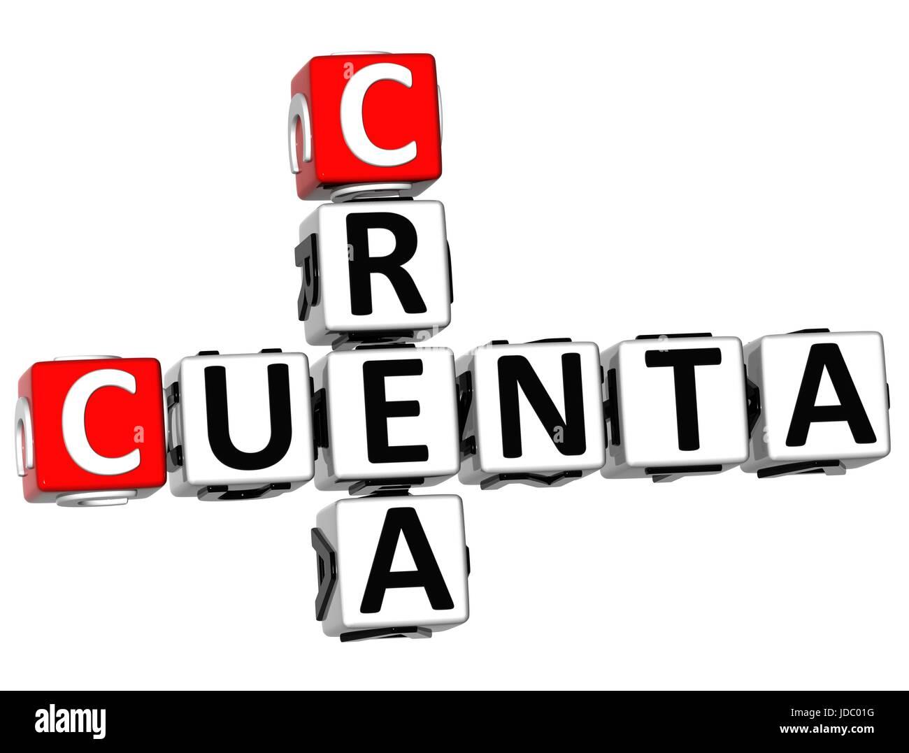 3D Crea Cuenta Crossword on white background - Stock Image
