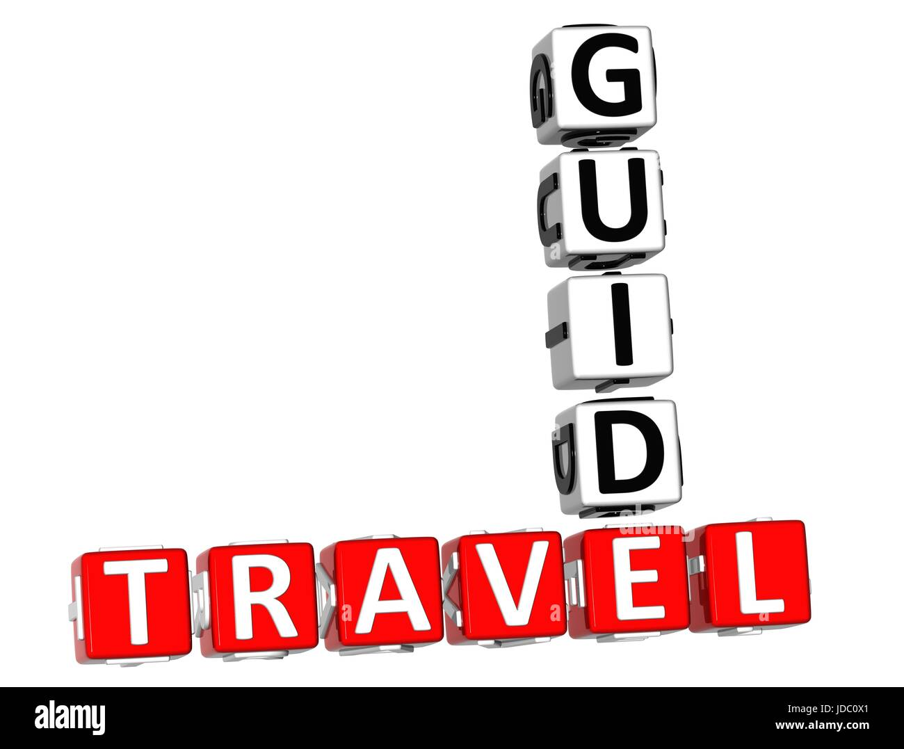 3D Travel Guide Crossword on white background - Stock Image