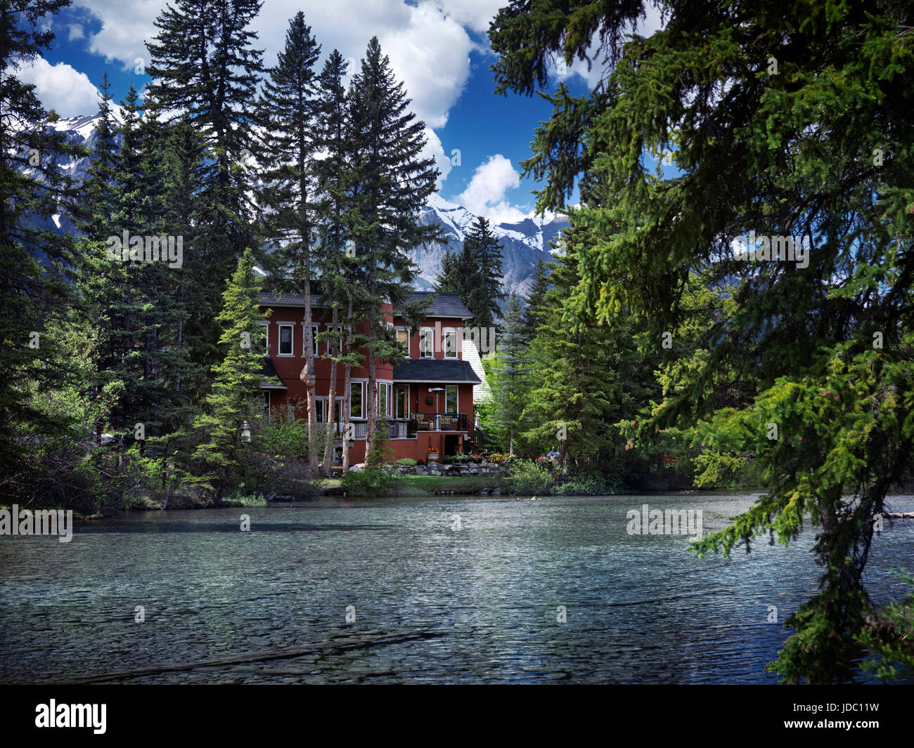 Beautiful Spring Nature Scenery Of A Large Waterfront Family House