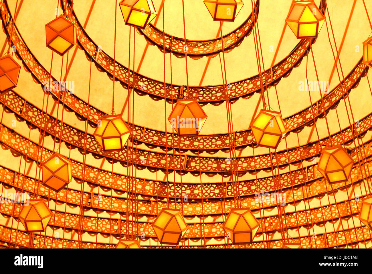 a symmetrical and marvelous  Interior decoration by paper lantern, Laltain lights for Diwali Hindus indian festival Stock Photo