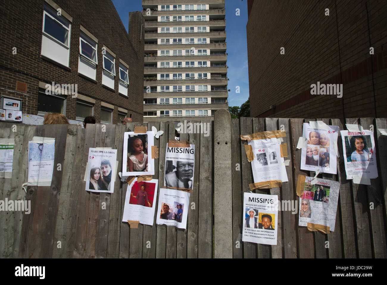 Photographs of the missing victims placed within the local community after the Grenfell Tower fire disaster, West - Stock Image