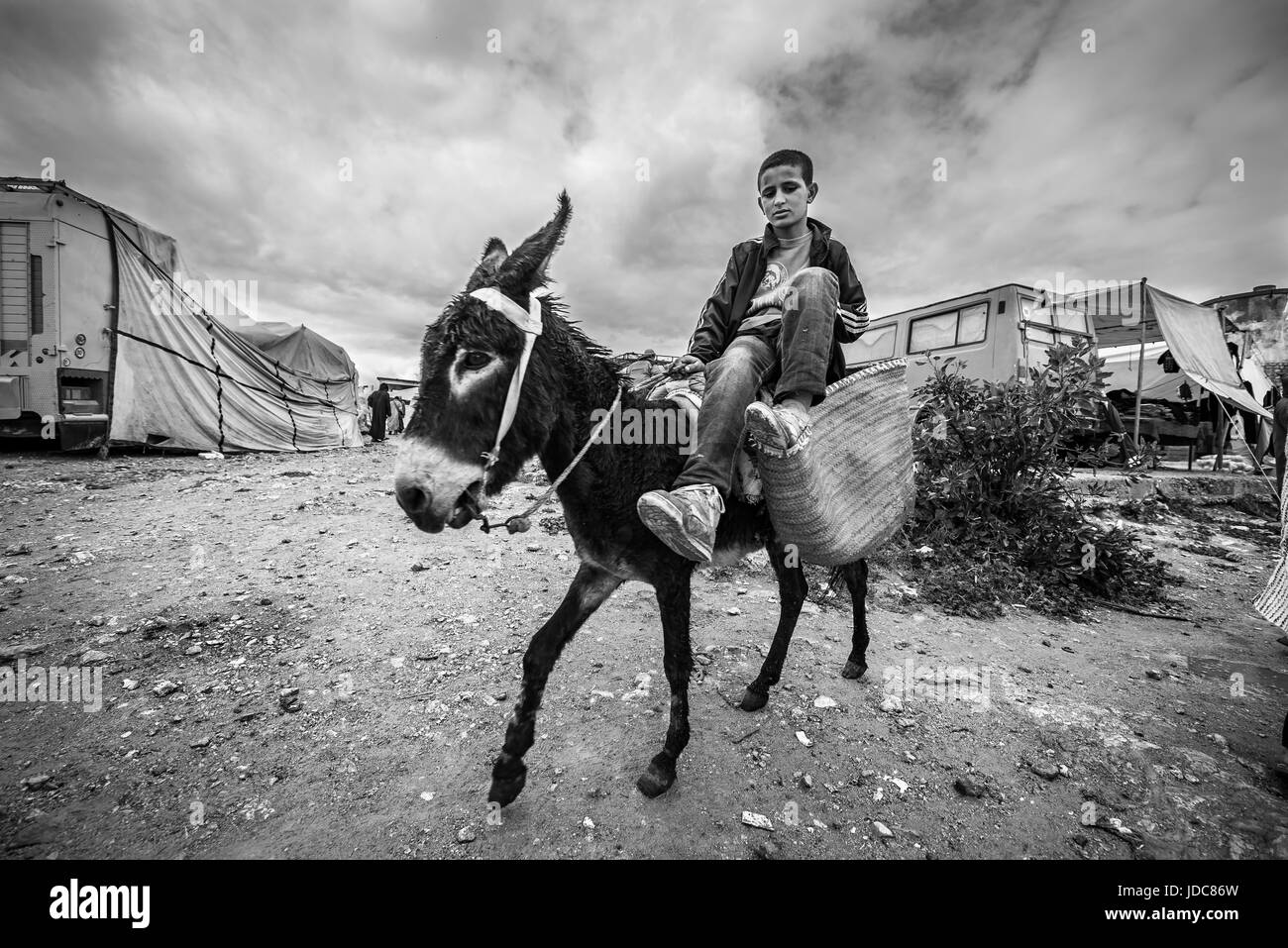 Kid on a donkey in a traditional countryside market in Morocco - Stock Image
