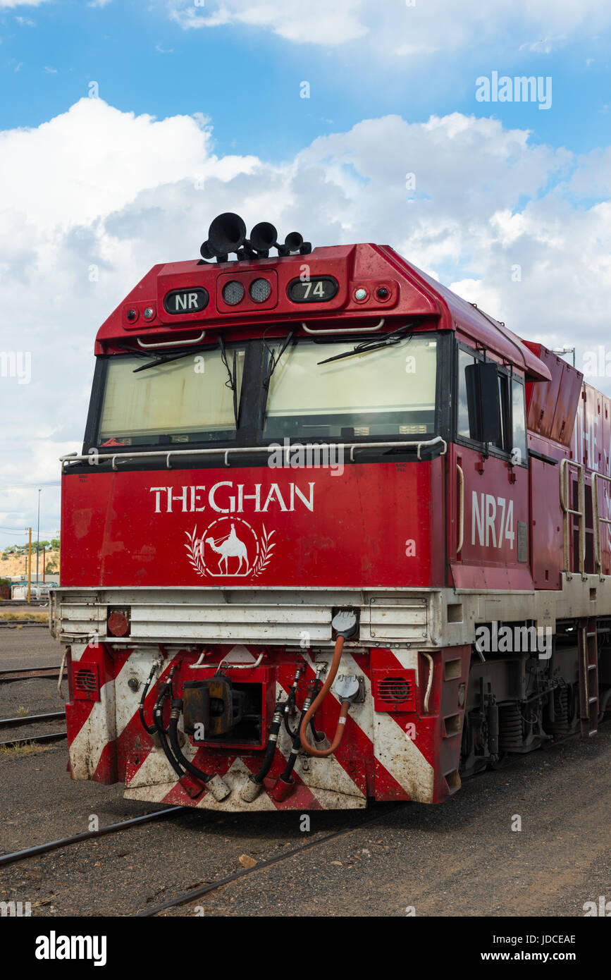 The famed Ghan train at Alice Springs railway station. Central Australia - Stock Image