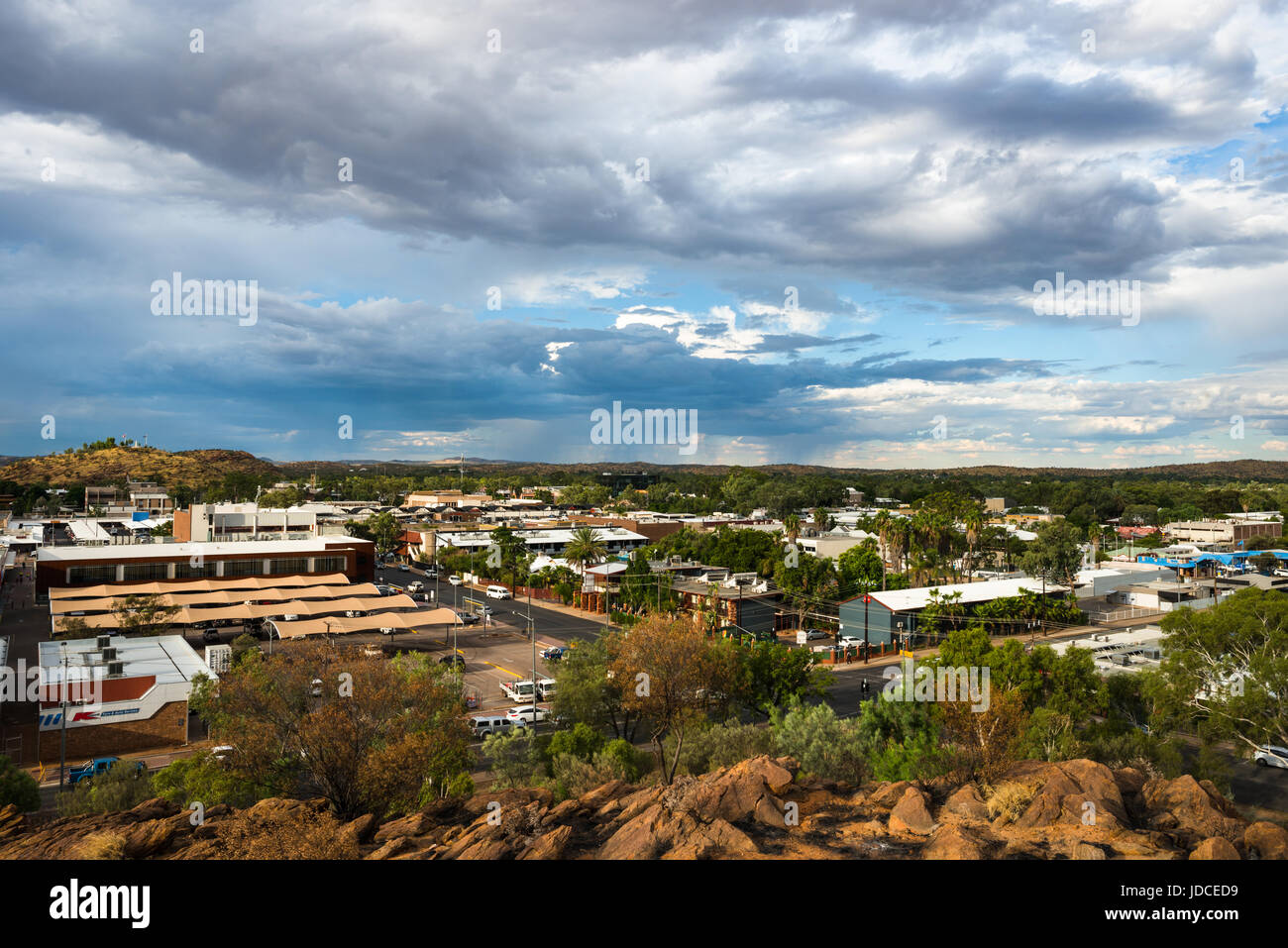 Wide image of Alice Springs from nearby hill. Northern Territory. Central Australia. - Stock Image
