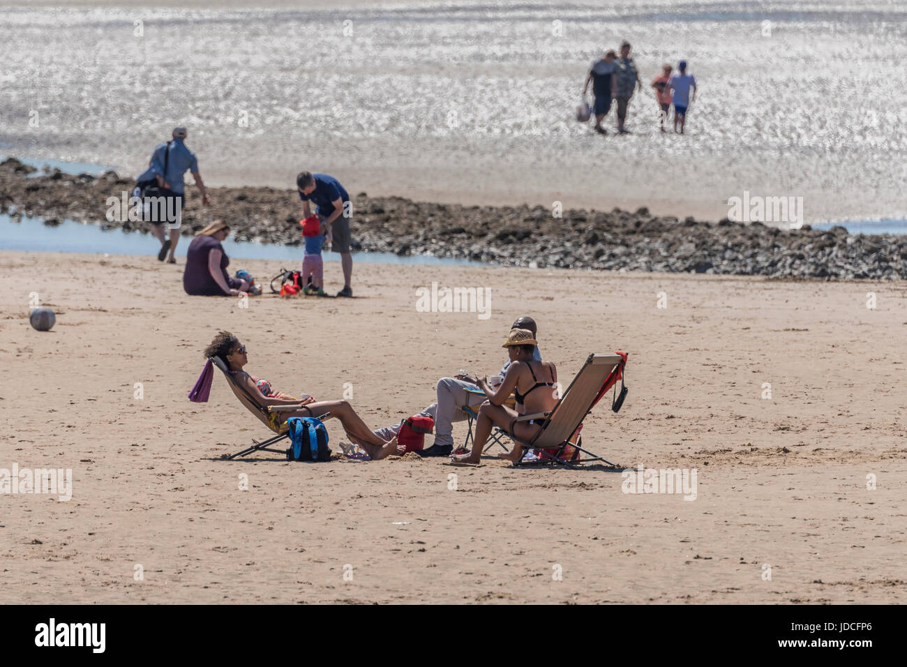 Summers day on Crosby beach. Merseyside - Stock Image