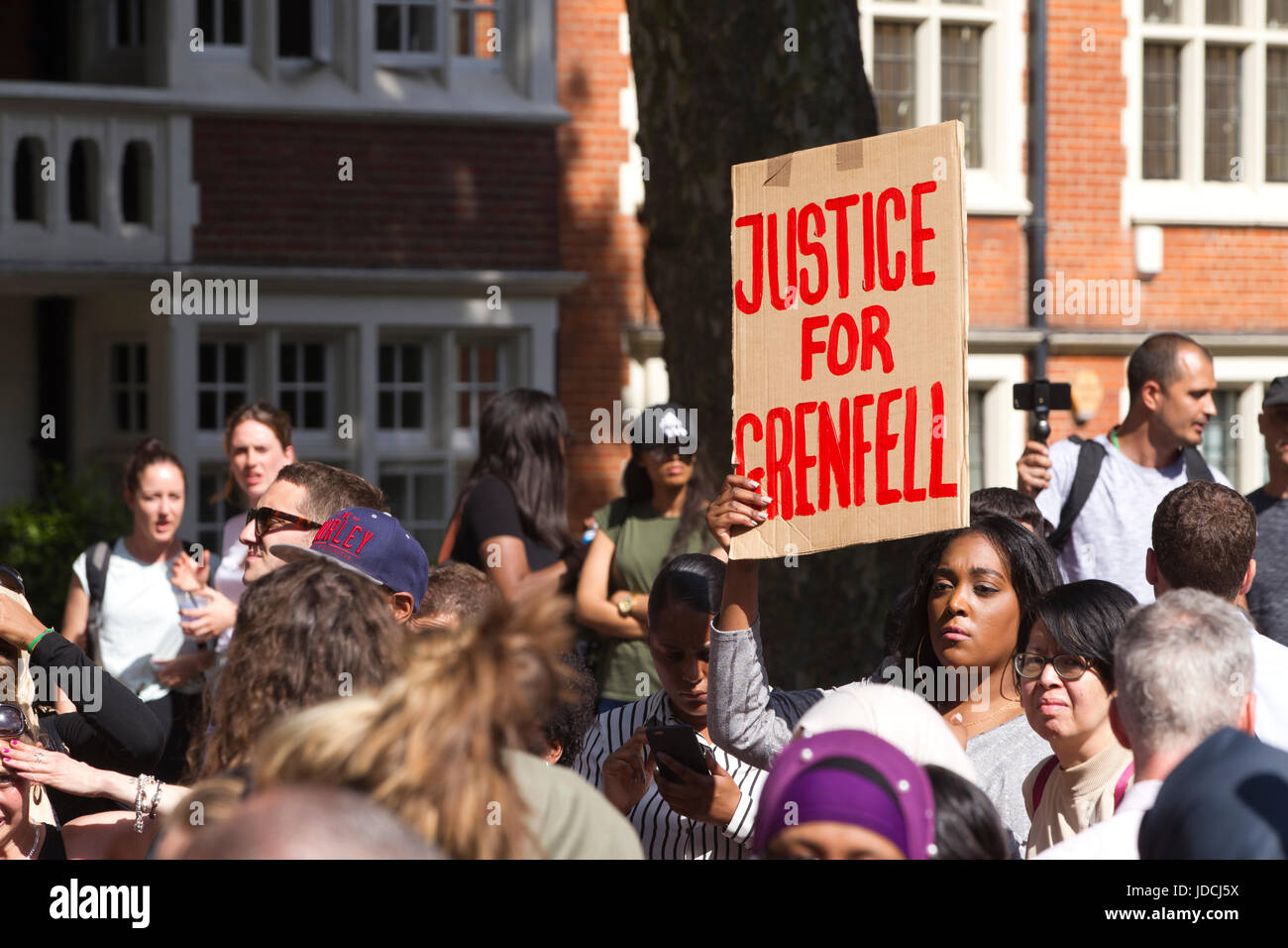 Grenfell Tower protest movement, Grenfell Tower fire disaster, outside Kensington Town Hall, West London, UK - Stock Image