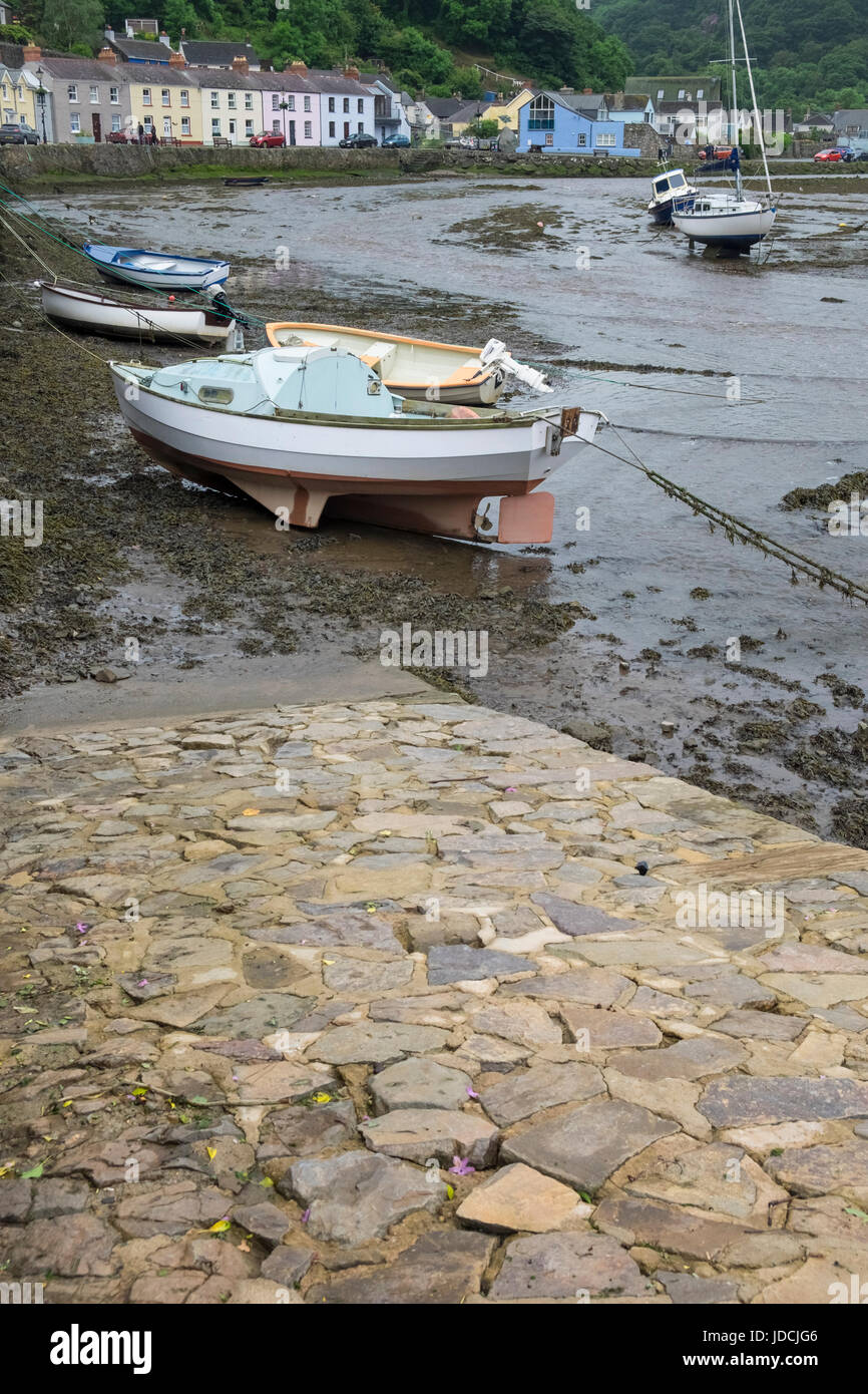 Lower Fishguard harbour, aka Abergwaun or Lower Town, Pembrokeshire, Wales, UK - Stock Image
