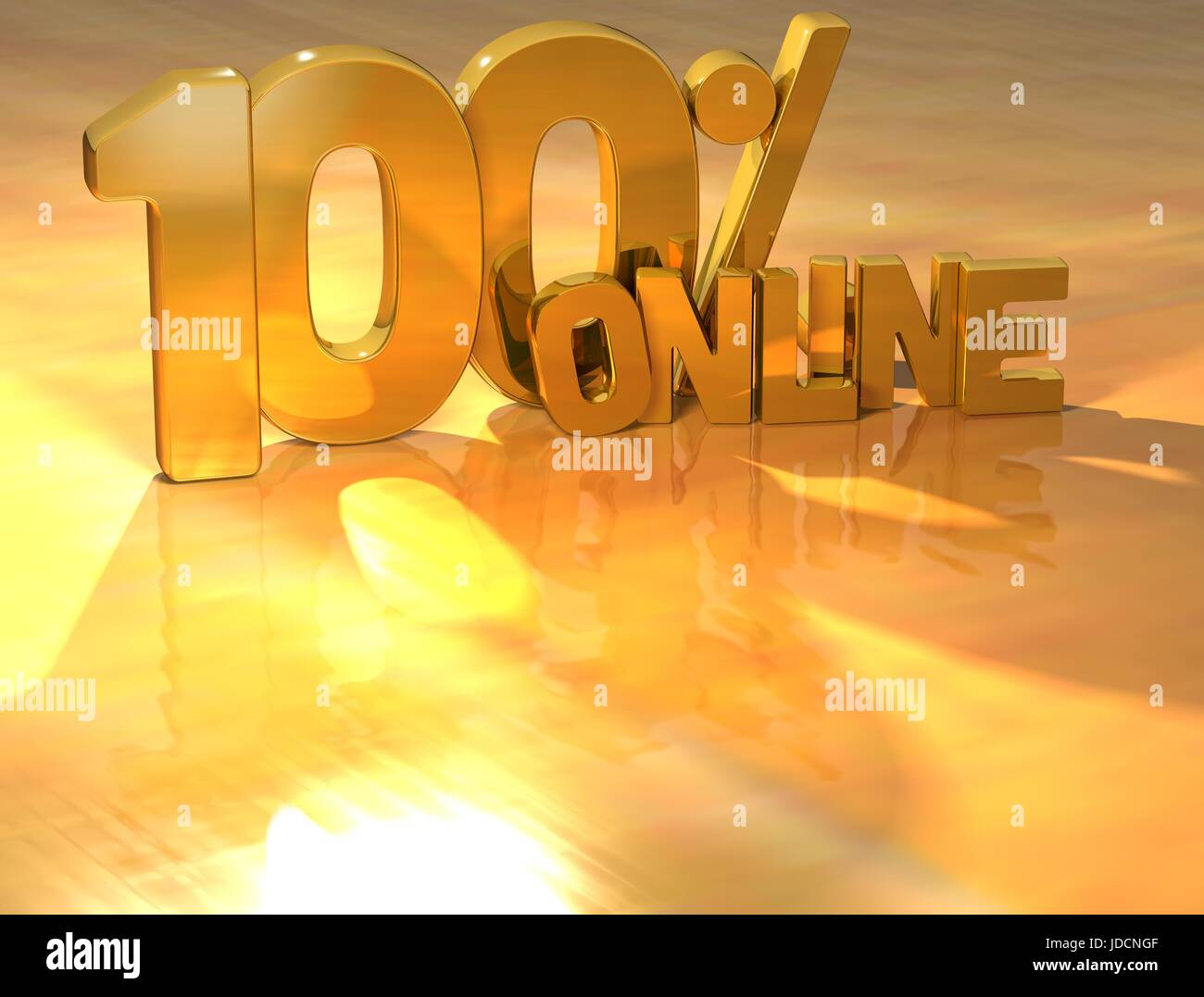 3D 100 Percent Online Gold Text over yellow background Stock Photo